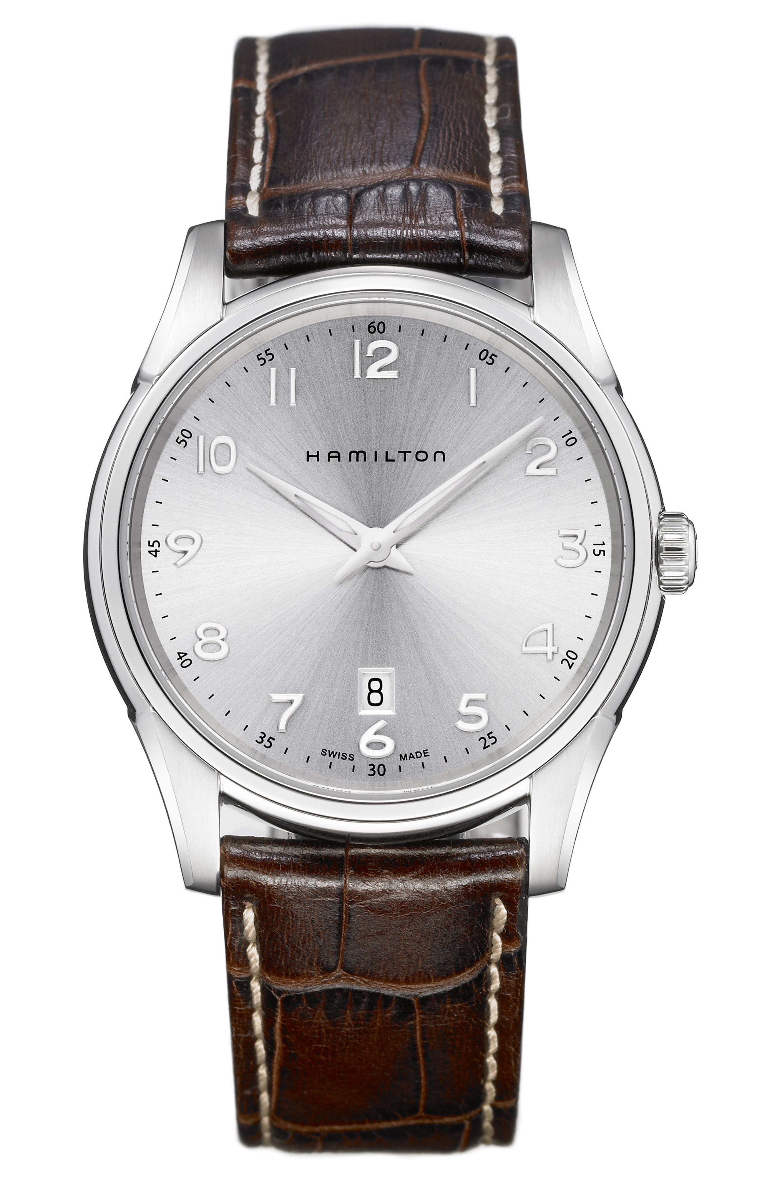 Jazzmaster Thinline Leather Strap Watch, 42mm,                         Main,                         color, Brown/ Silver