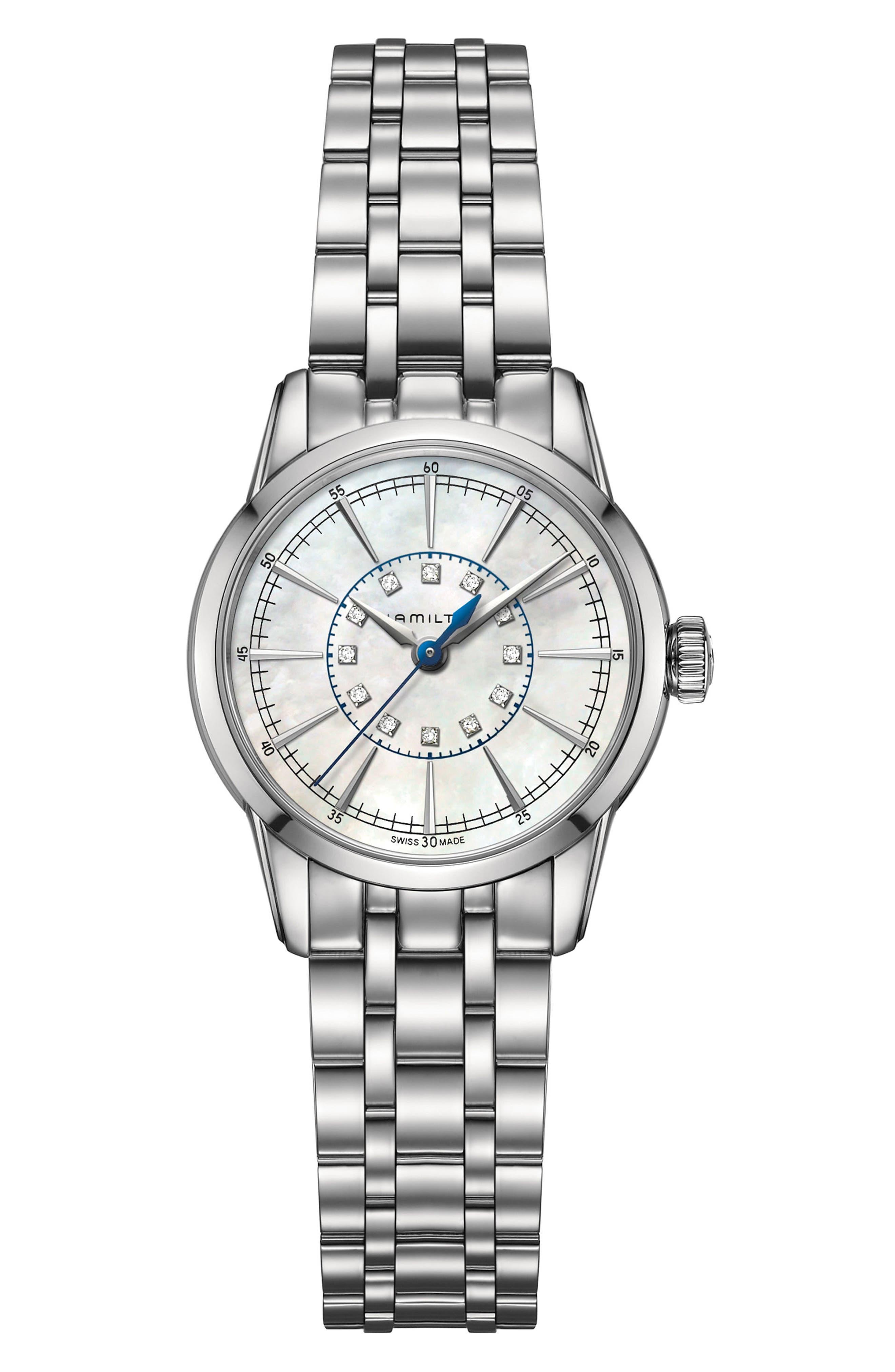 American Classic RailRoad Lady Bracelet Watch, 28mm,                             Main thumbnail 1, color,                             Silver/ Mop/ Silver