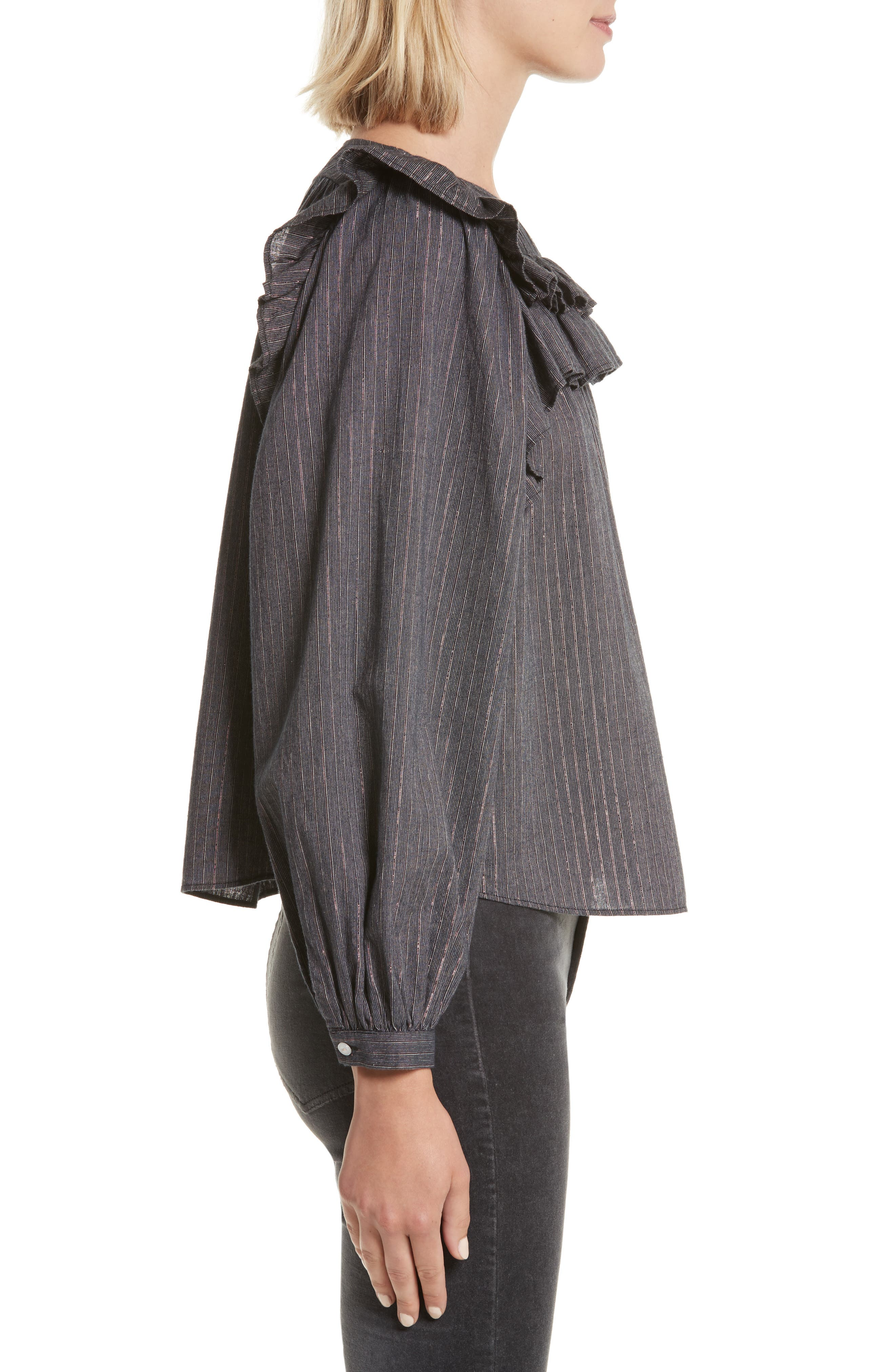Ruffle Lurex<sup>®</sup> Stripe Blouse,                             Alternate thumbnail 3, color,                             Washed Black Combo