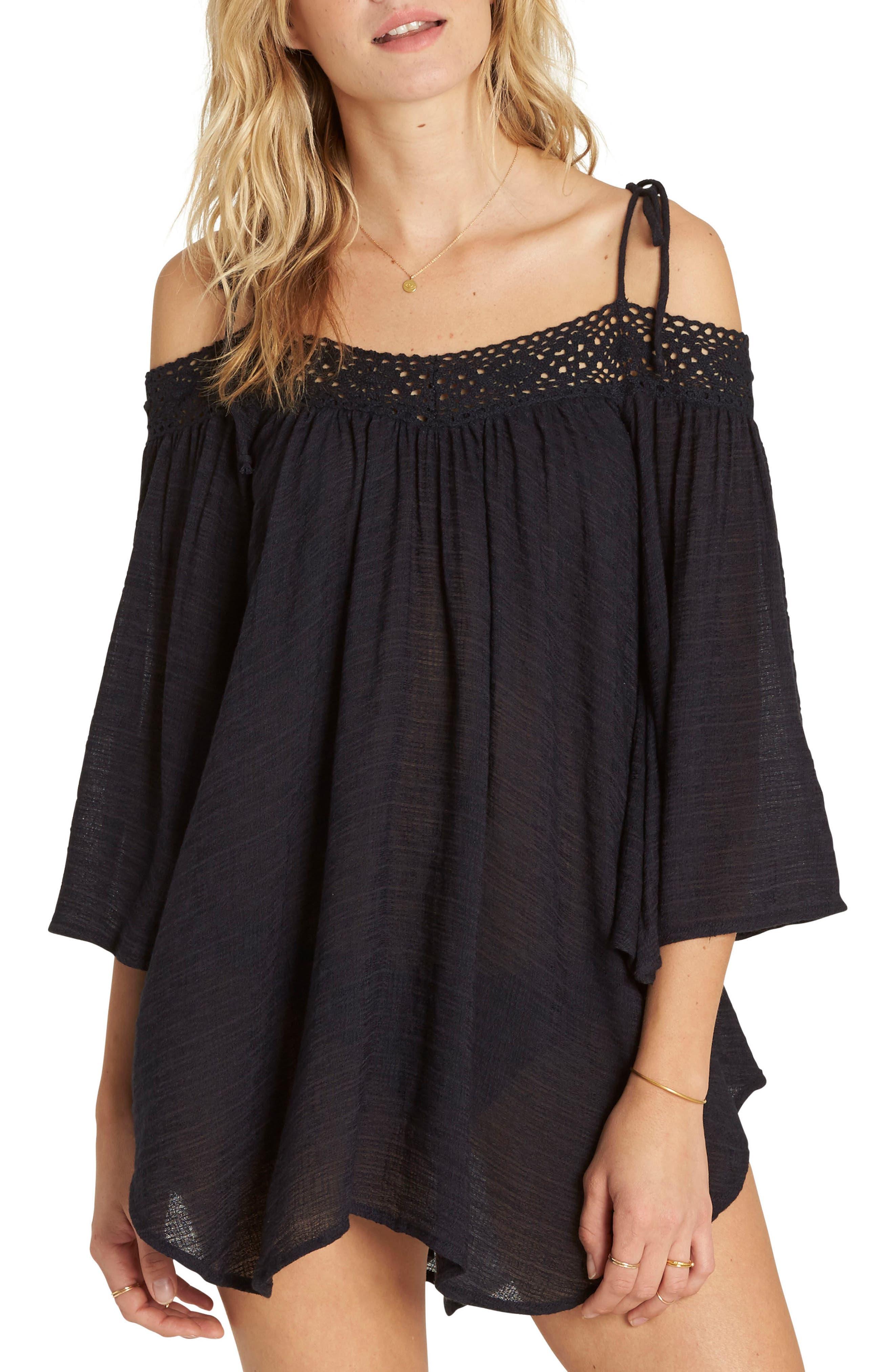 Breeze On Off the Shoulder Cover Up,                         Main,                         color, Black Sands