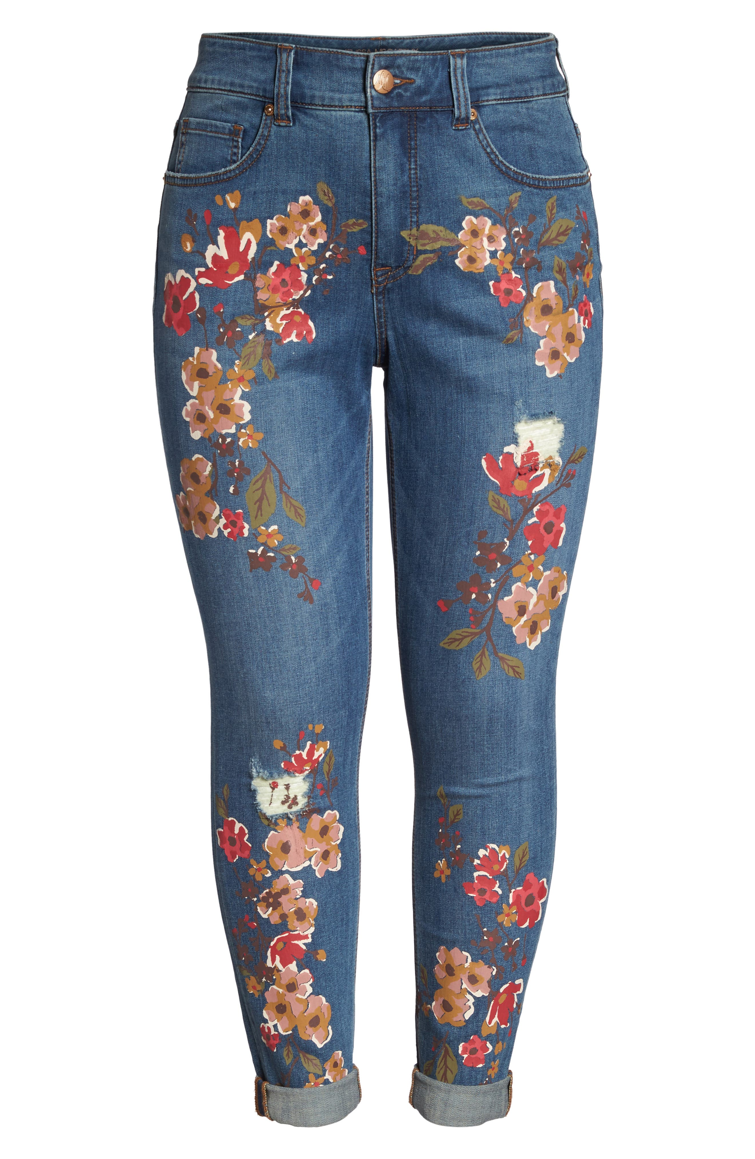 Painted Flowers Skinny Jeans,                             Alternate thumbnail 6, color,                             Destiny