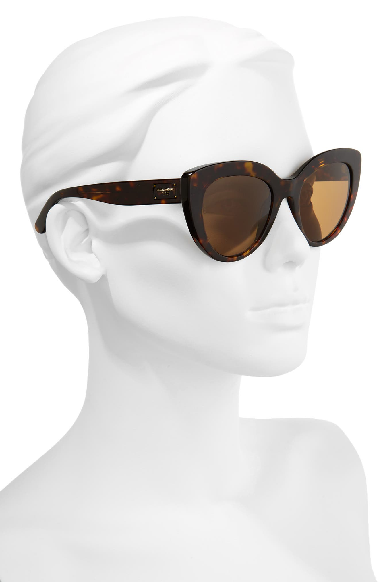 Dolce&Gabbana 53mm Polarized Cat Eye Sunglasses,                             Alternate thumbnail 2, color,                             Brown/ Havana