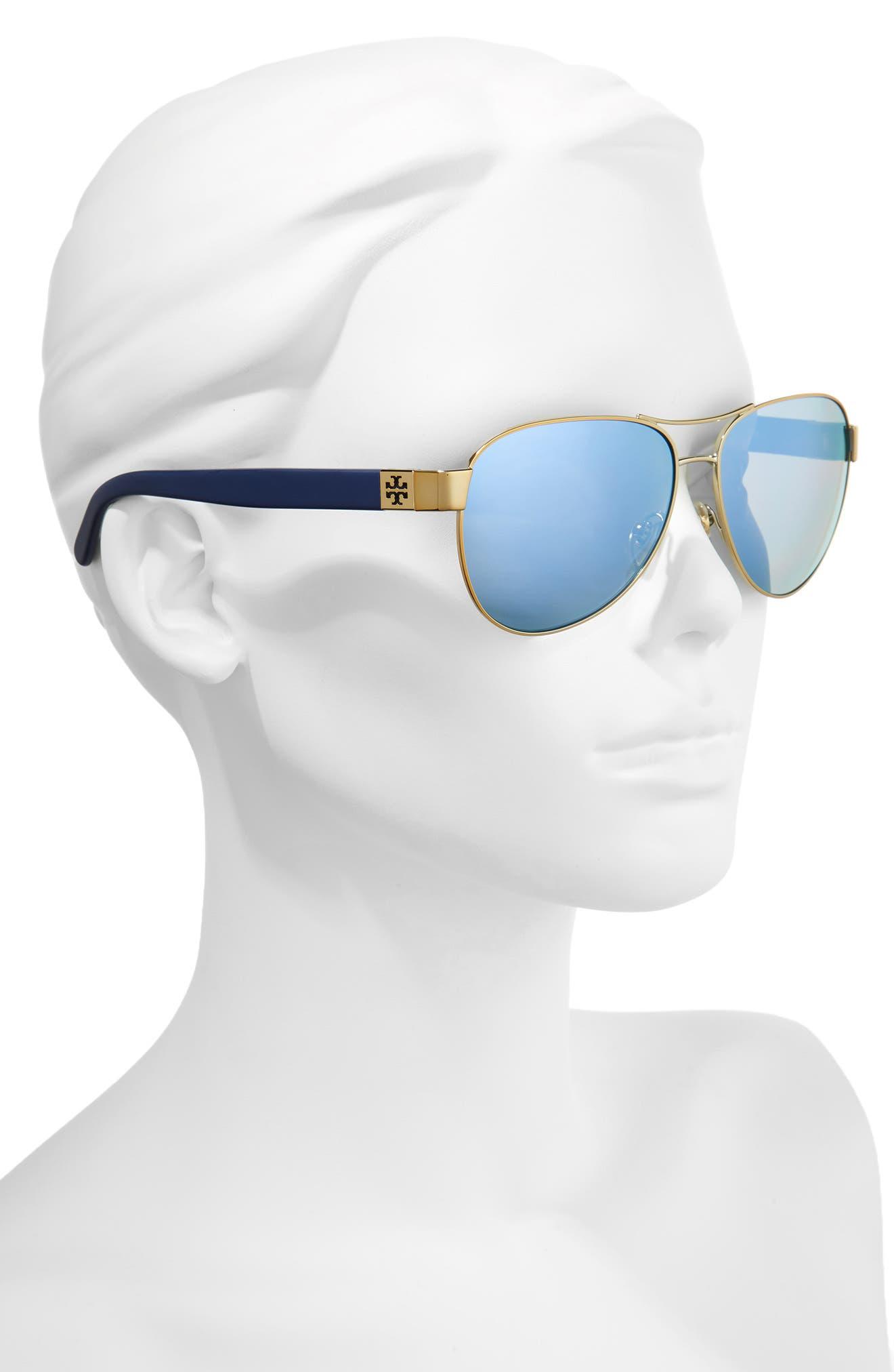 60mm Polarized Aviator Sunglasses,                             Alternate thumbnail 2, color,                             Gold