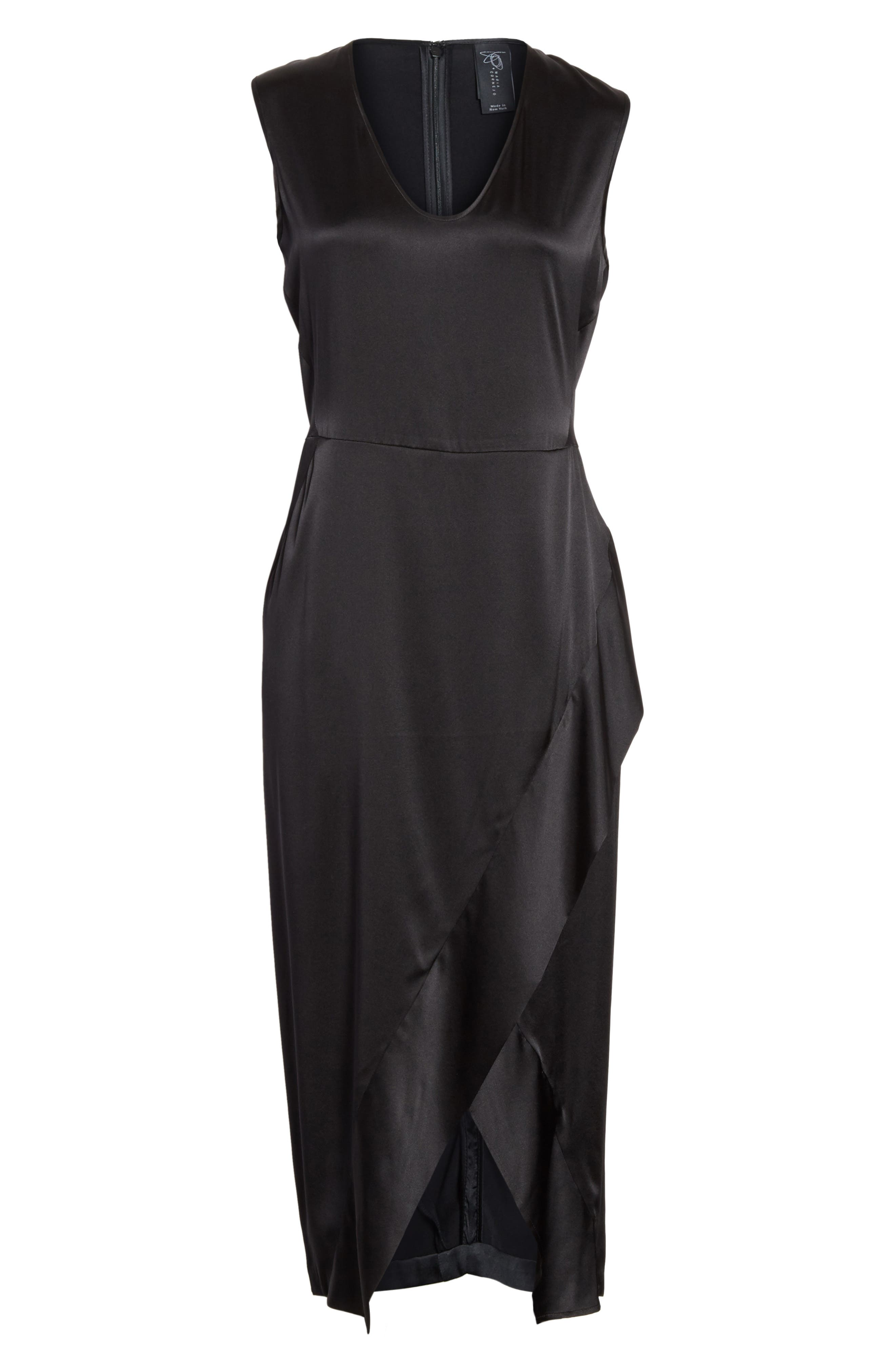 Mylla Stretch Silk Charmeuse Dress,                             Alternate thumbnail 7, color,                             Shiny Black