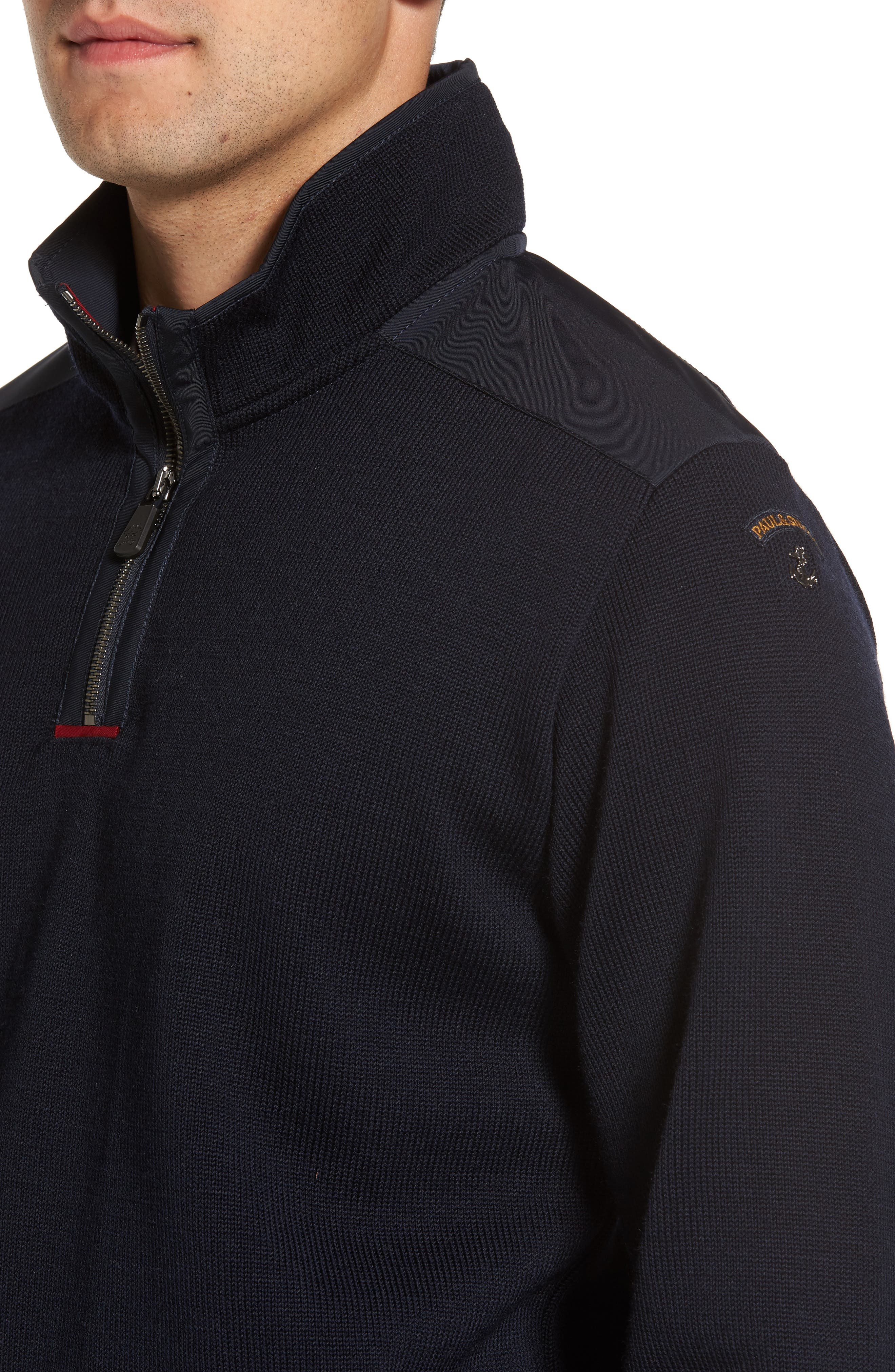 Paul&Shark Bretagne Quarter Zip Wool Sweater,                             Alternate thumbnail 4, color,                             Navy