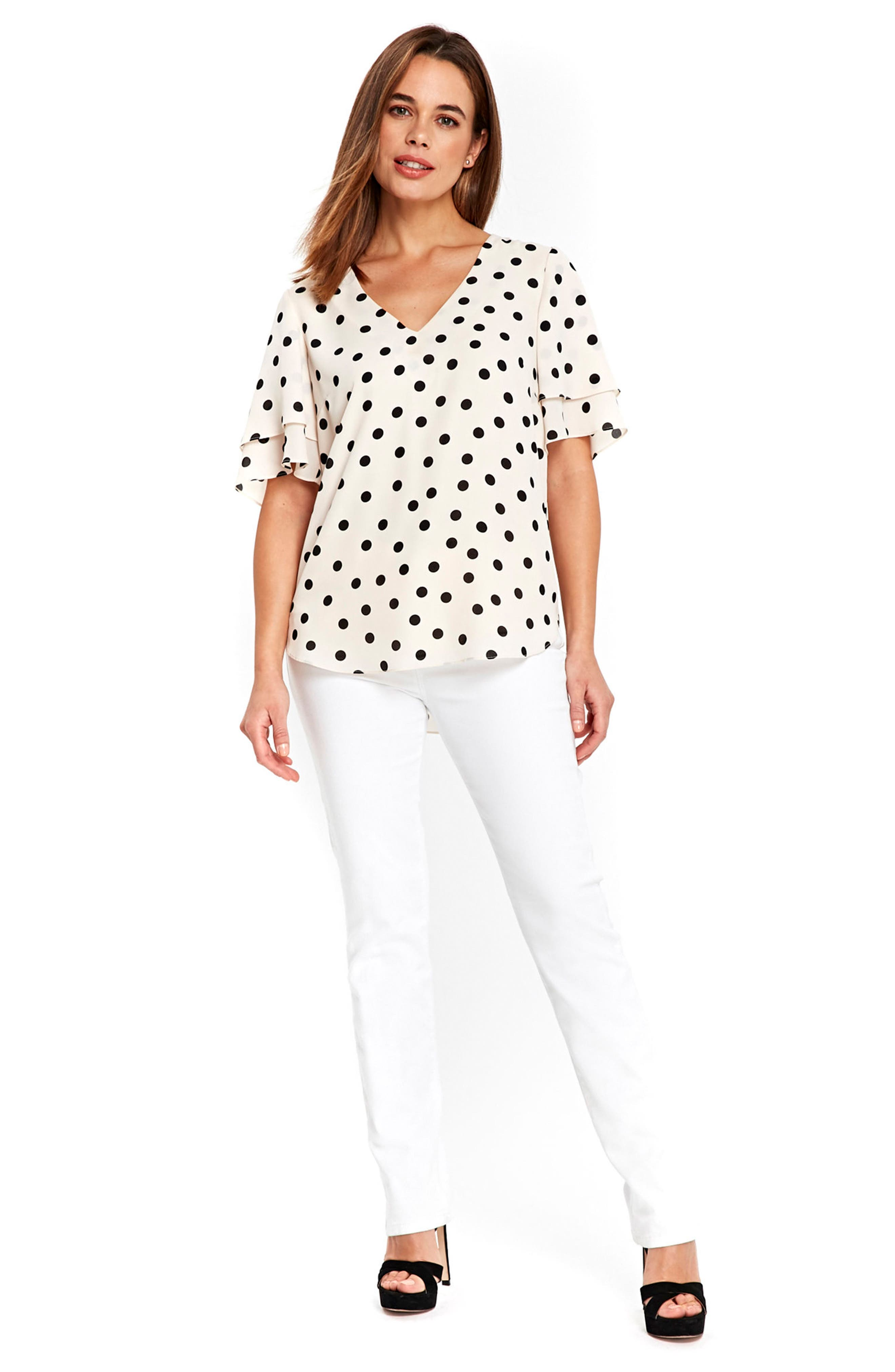 Spot Double Sleeve Top,                             Alternate thumbnail 2, color,                             Ivory/ Black
