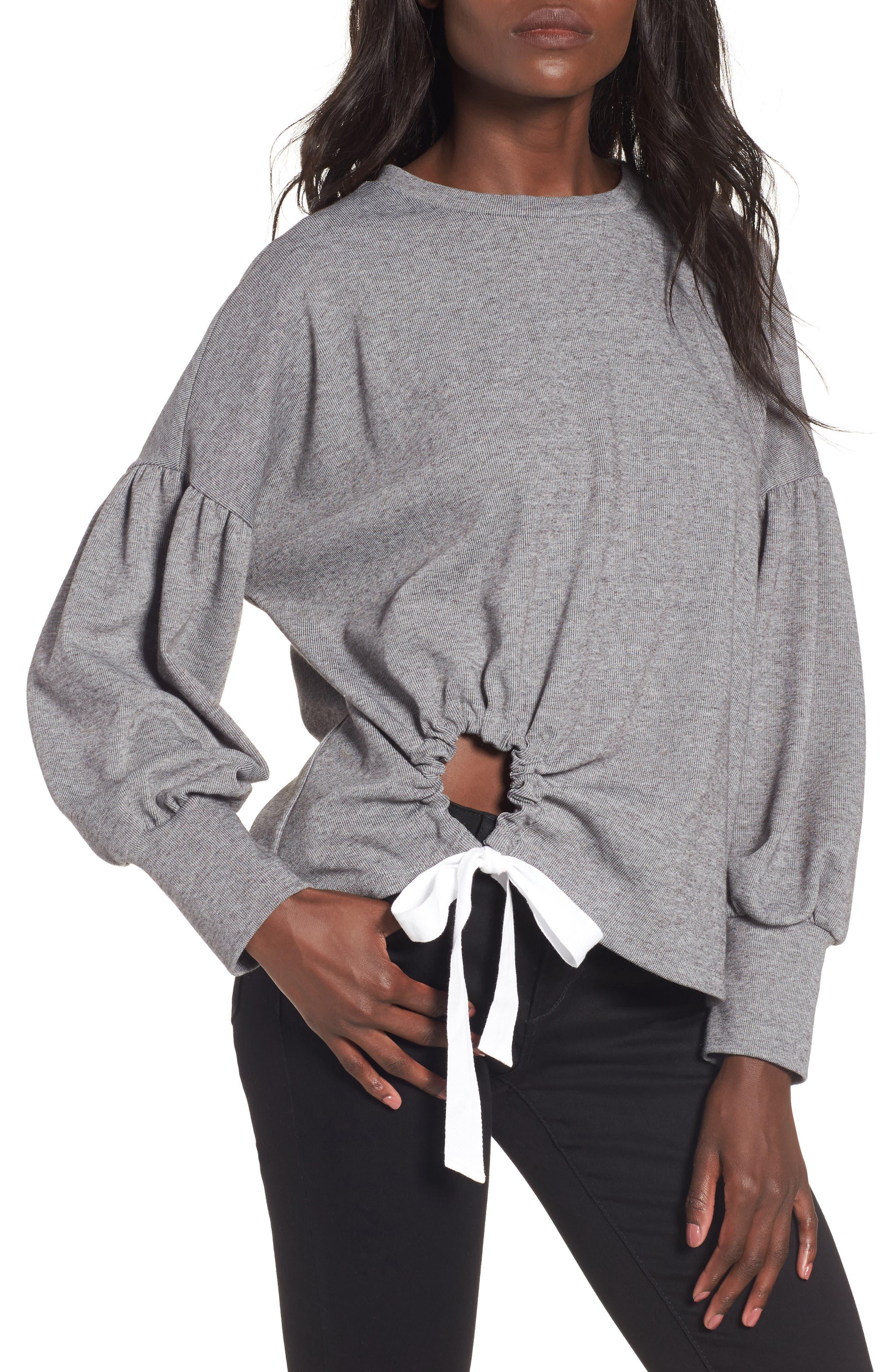 June & Hudson Balloon Sleeve Tie Sweatshirt