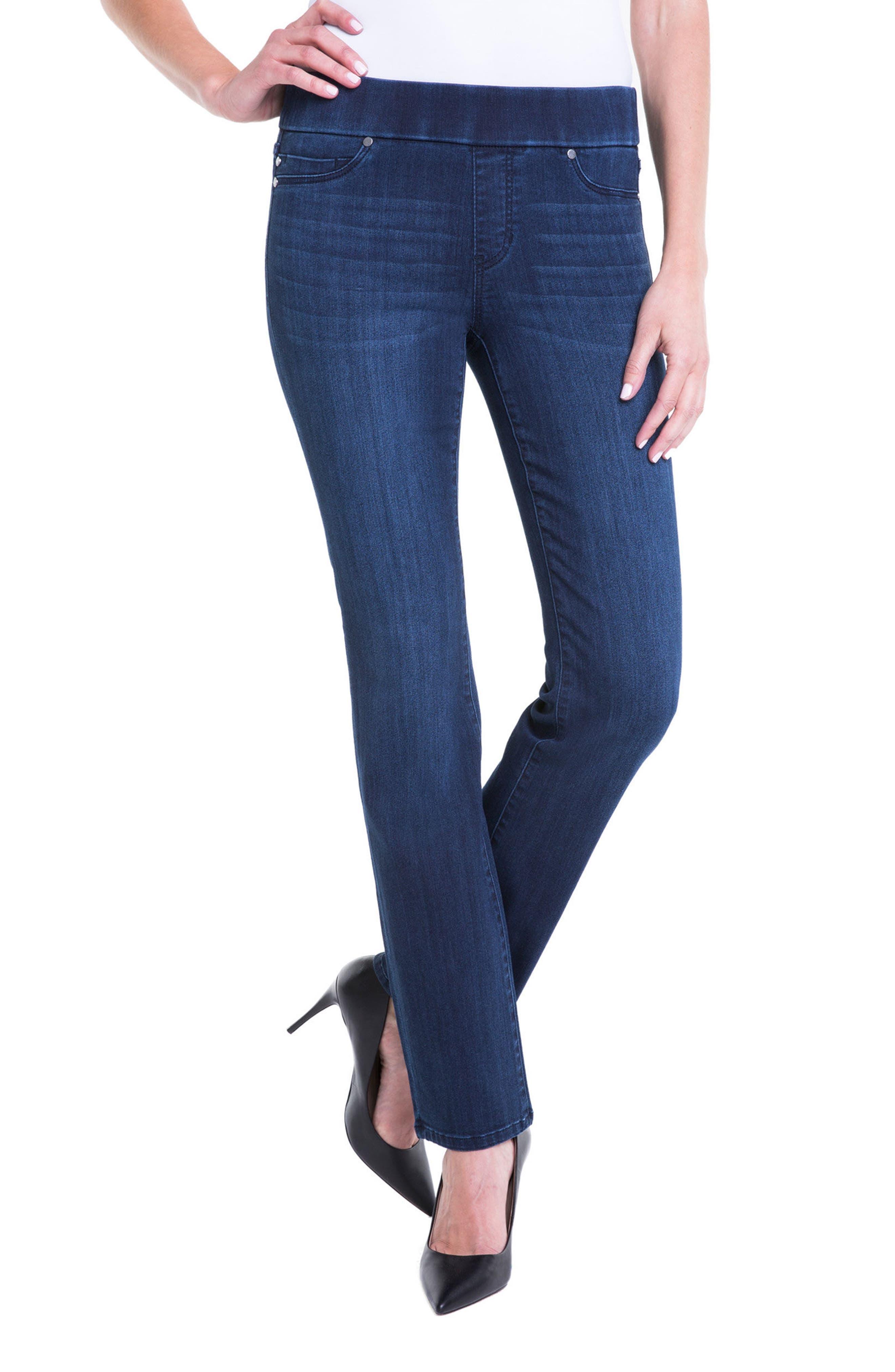 Jillian Pull-On Straight Leg Jeans,                             Main thumbnail 1, color,                             Estrella Med Dark