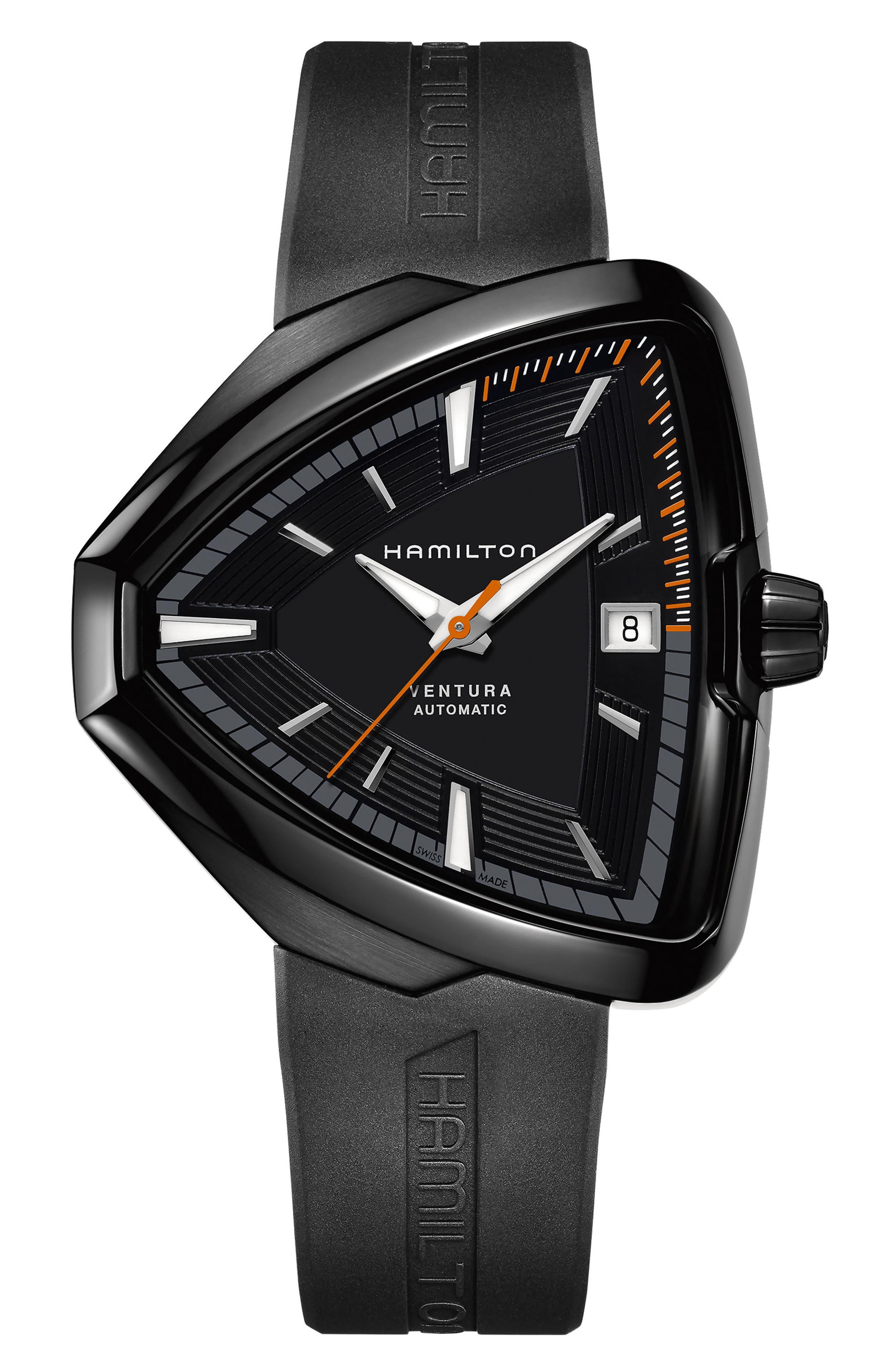 Ventura Elvis80 Automatic Silicone Strap Watch, 42.5mm x 44.5mm,                         Main,                         color, Black
