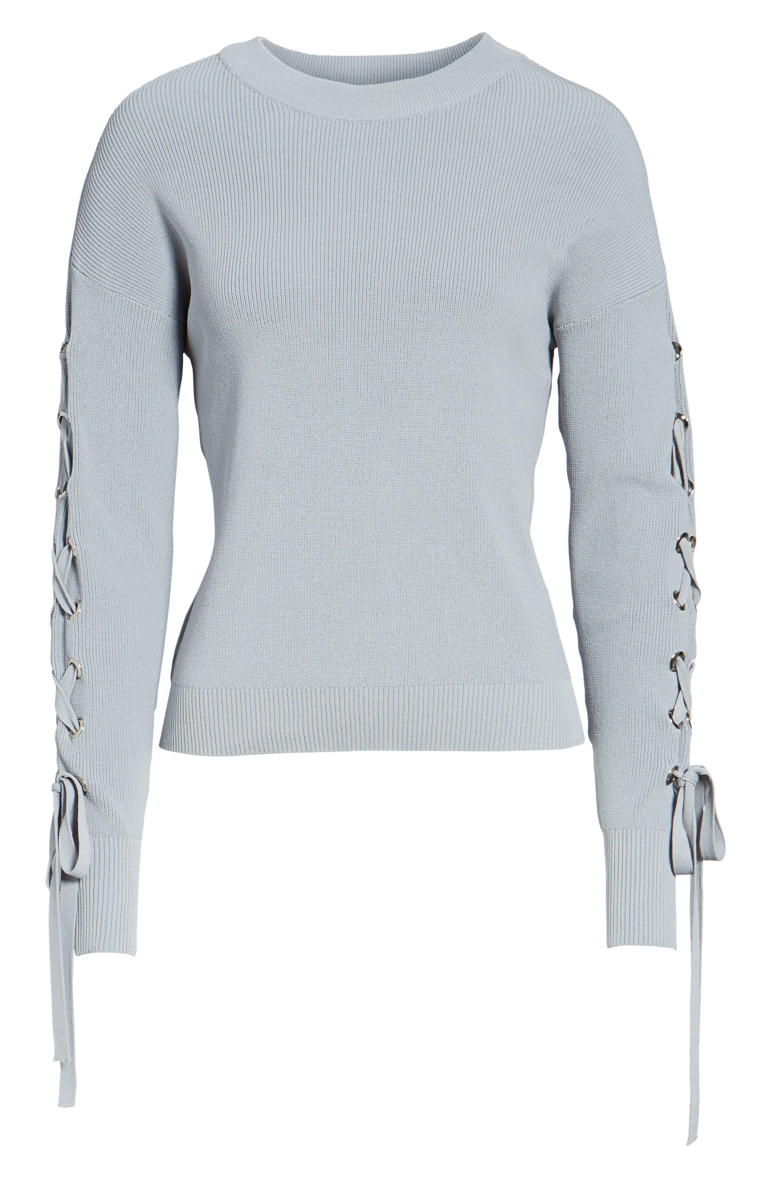 Alternate Image 6  - J.O.A. Lace-Up Sleeve Sweater