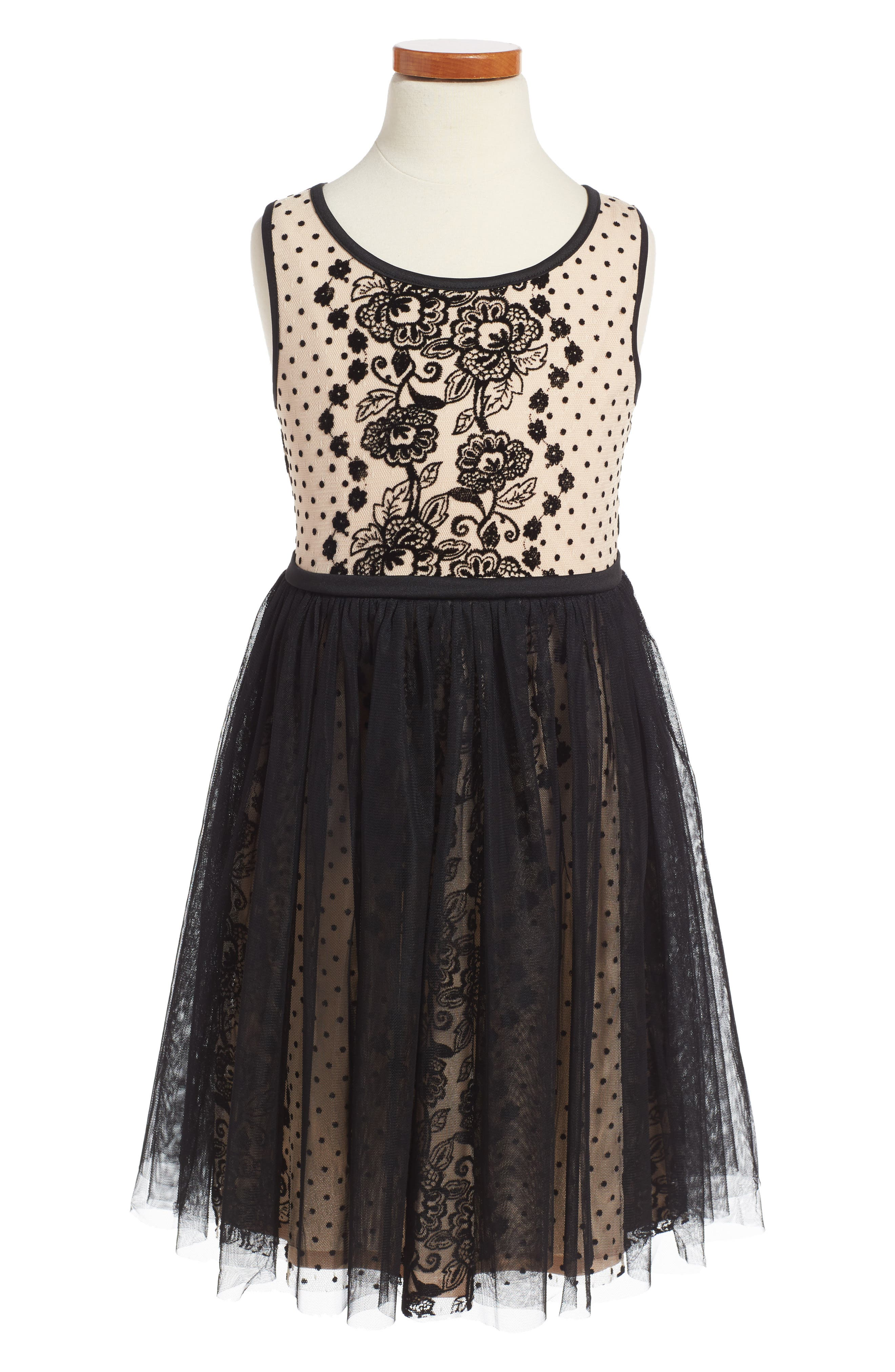 Embroidered Mesh Dress,                         Main,                         color, Taupe/ Black