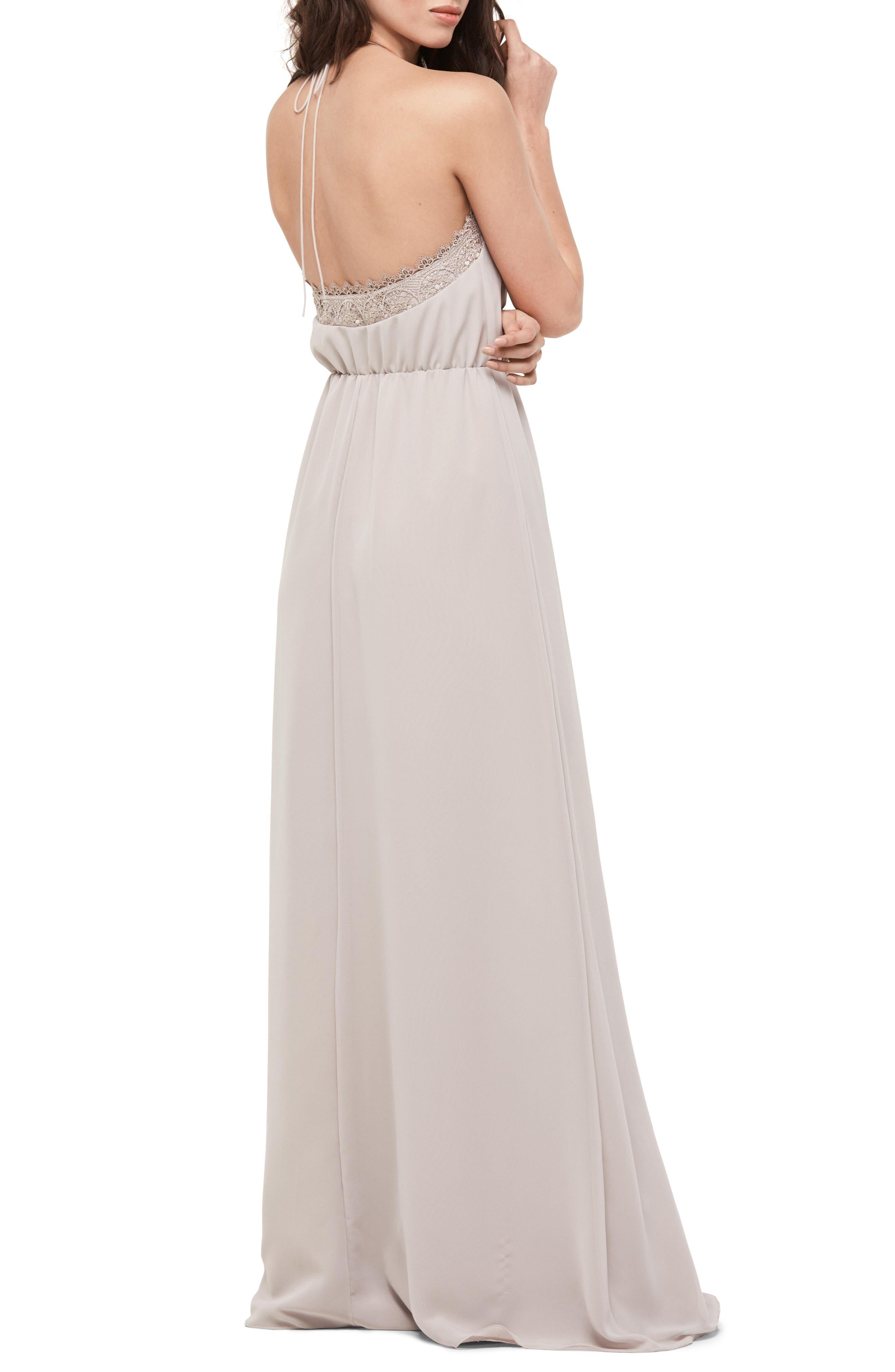 Lace Trim Chiffon Halter Gown,                             Alternate thumbnail 2, color,                             Mocha