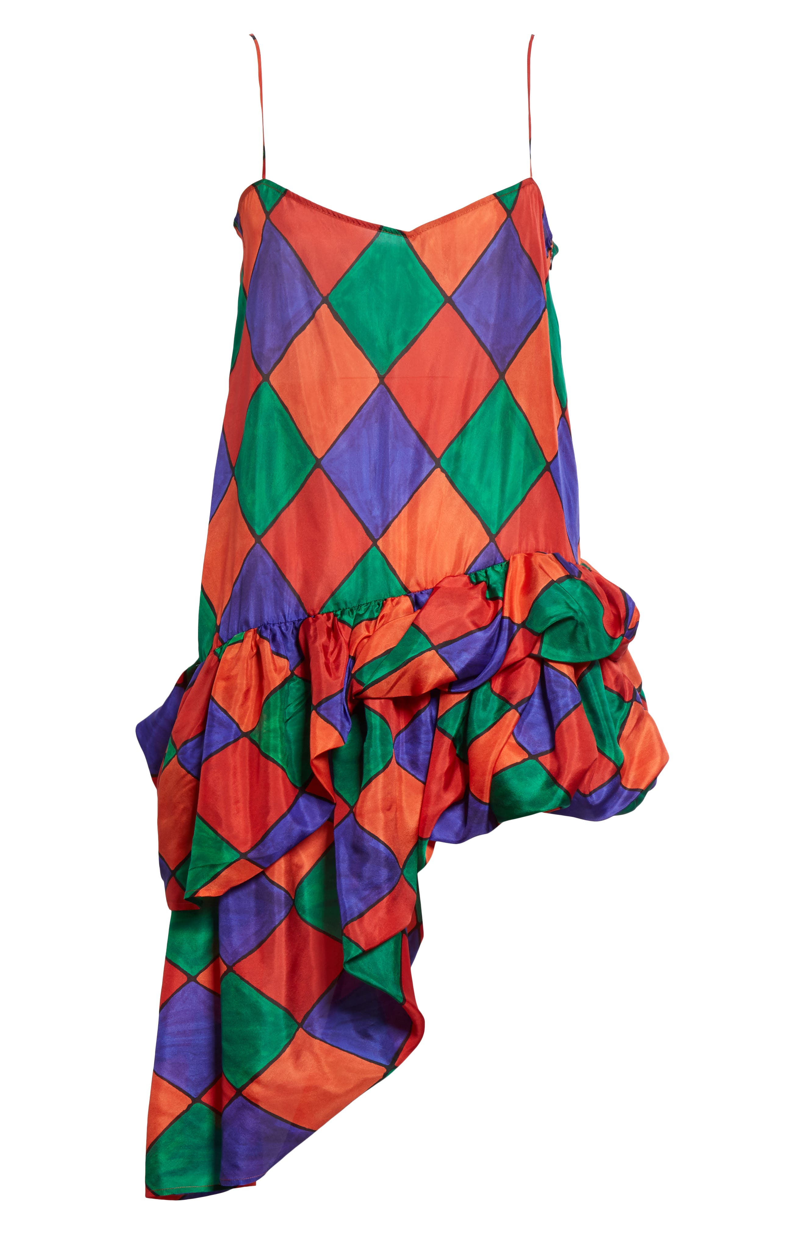 Fairy Asymmetrical Ruffle Silk Top,                             Alternate thumbnail 6, color,                             Carnival