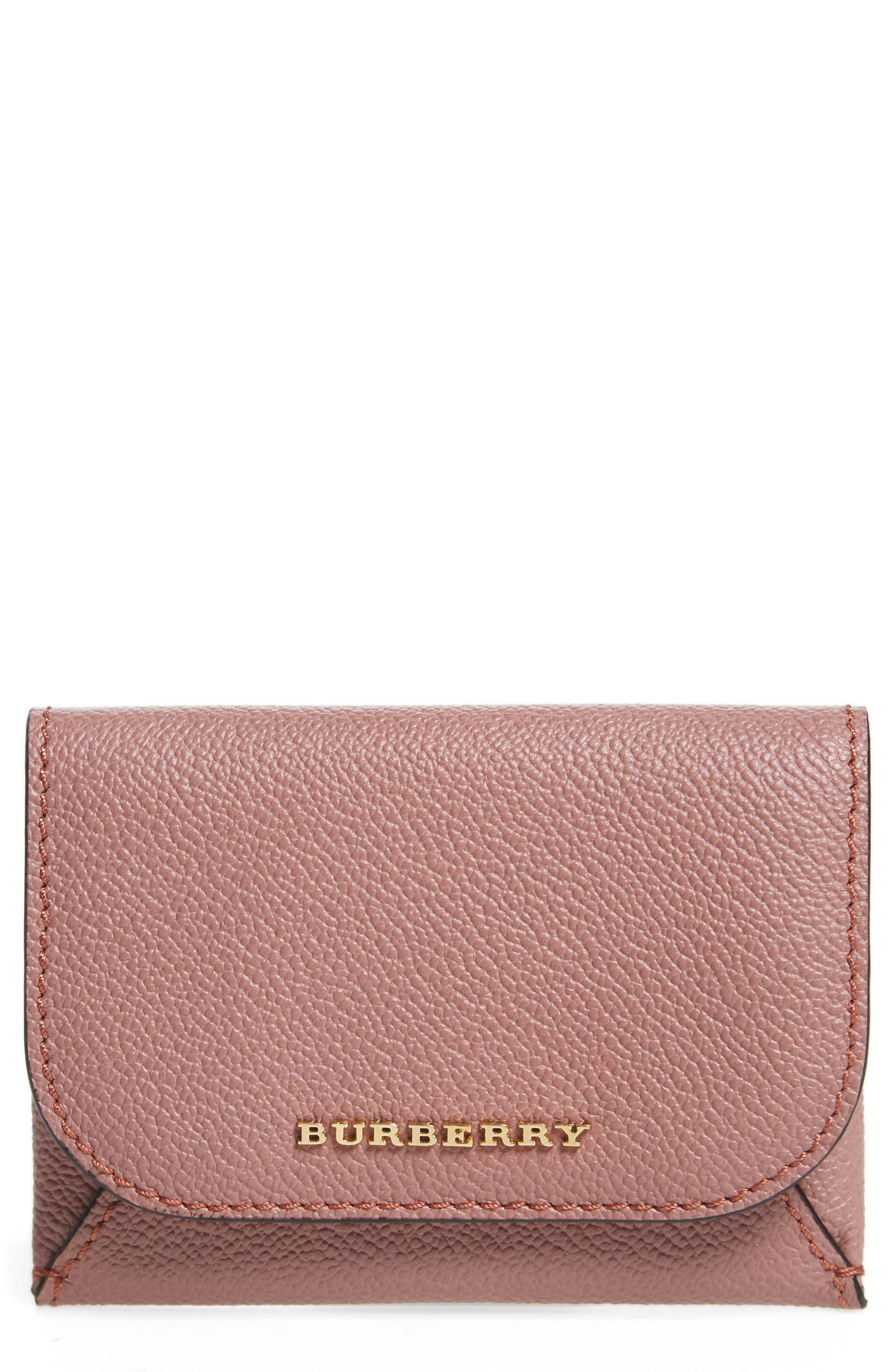 Mayfield Leather Card Case,                             Main thumbnail 1, color,                             Dusty Pink / Multi