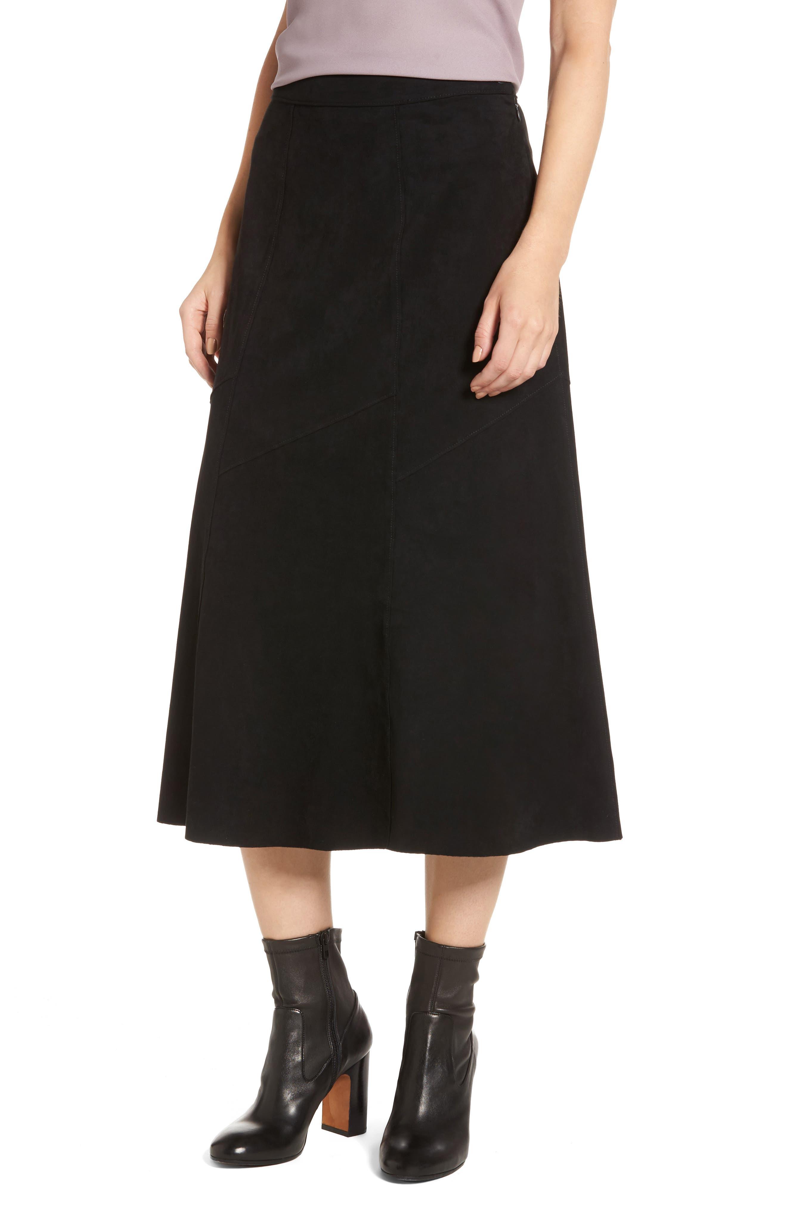 Faux Suede Midi Skirt,                             Main thumbnail 1, color,                             Black