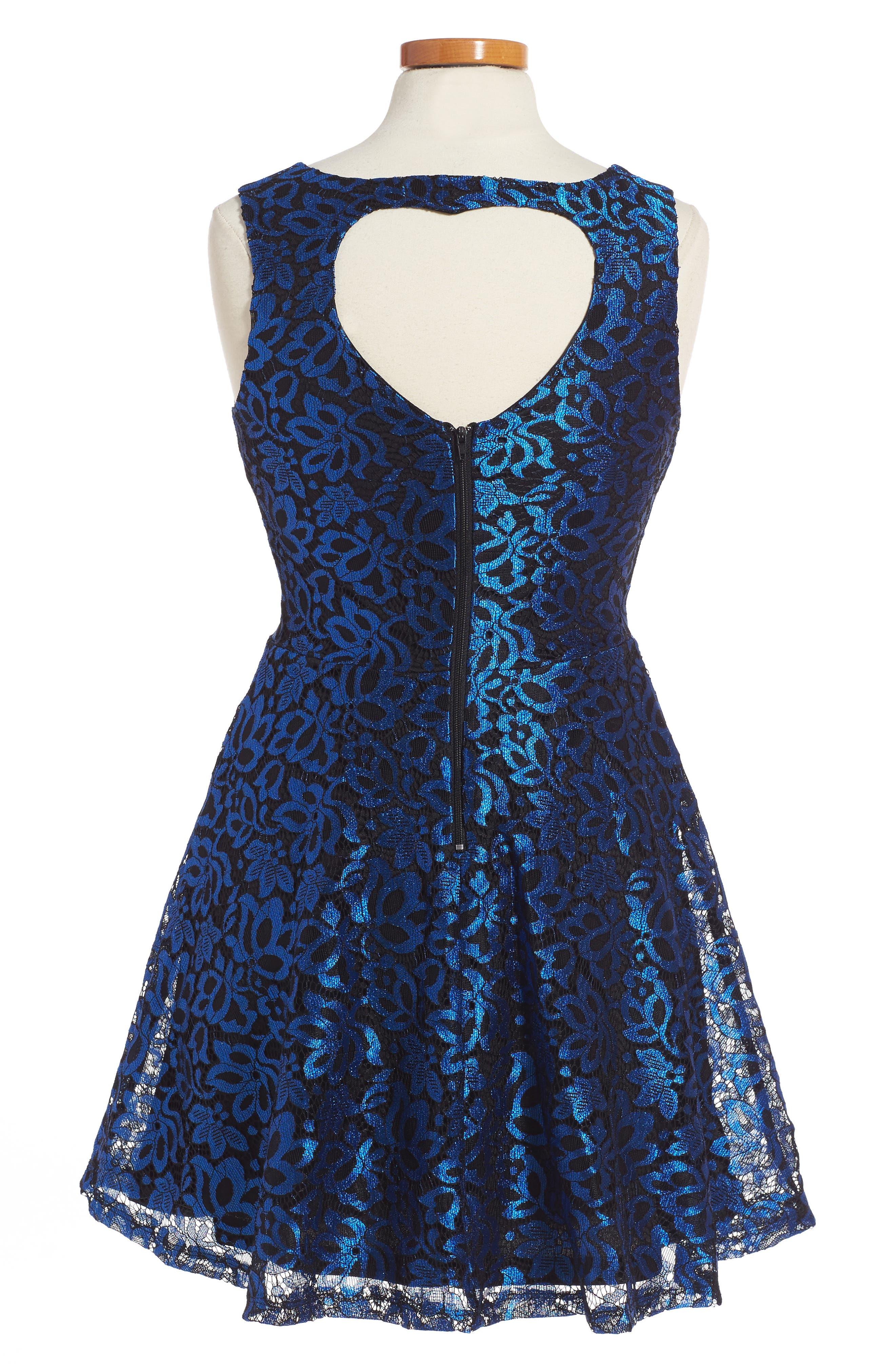 Carrie Lace Fit & Flare Dress,                             Alternate thumbnail 2, color,                             Black/ Royal