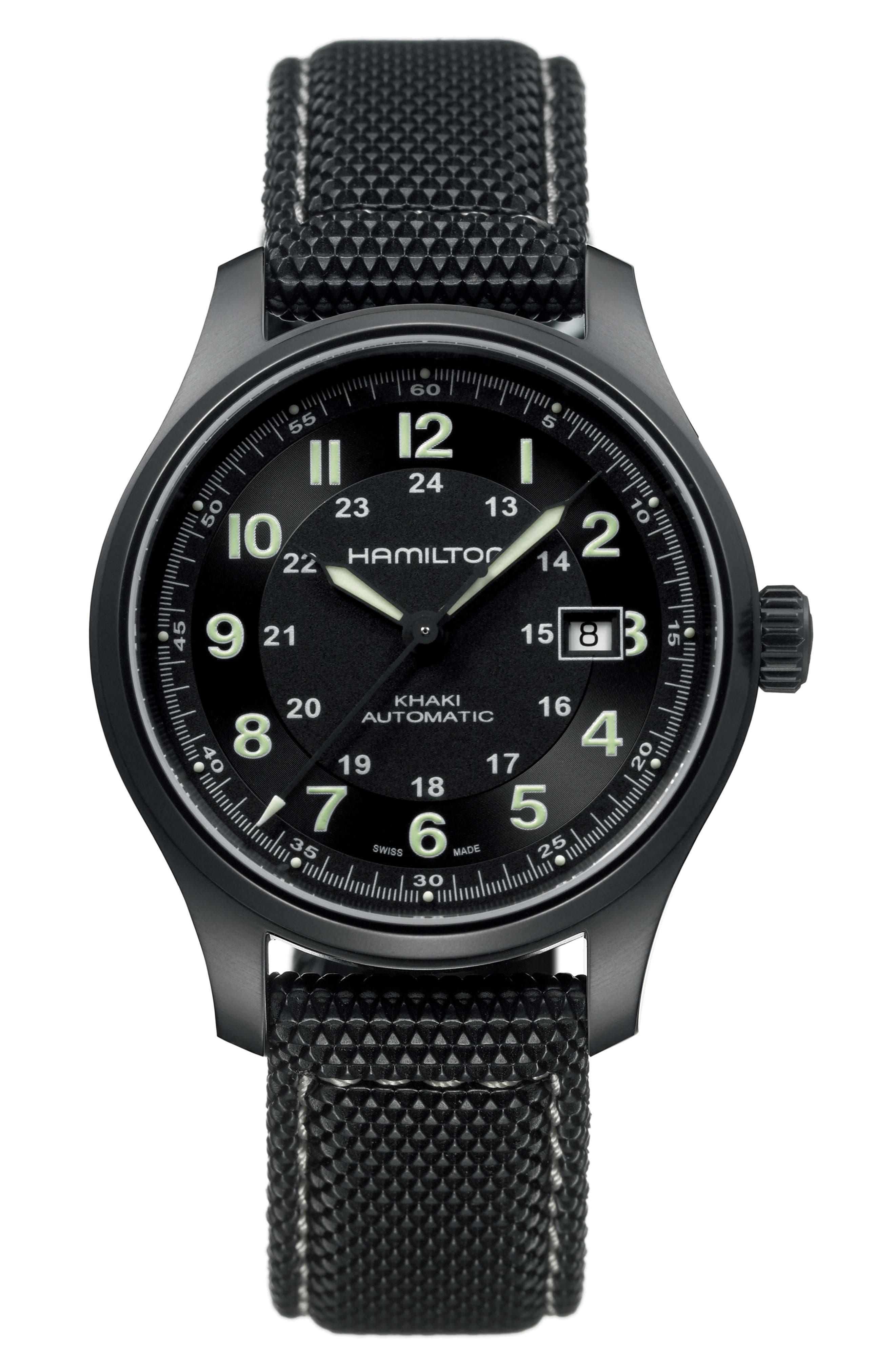 Alternate Image 1 Selected - Hamilton Khaki Field Automatic Silicone Strap Watch, 42mm