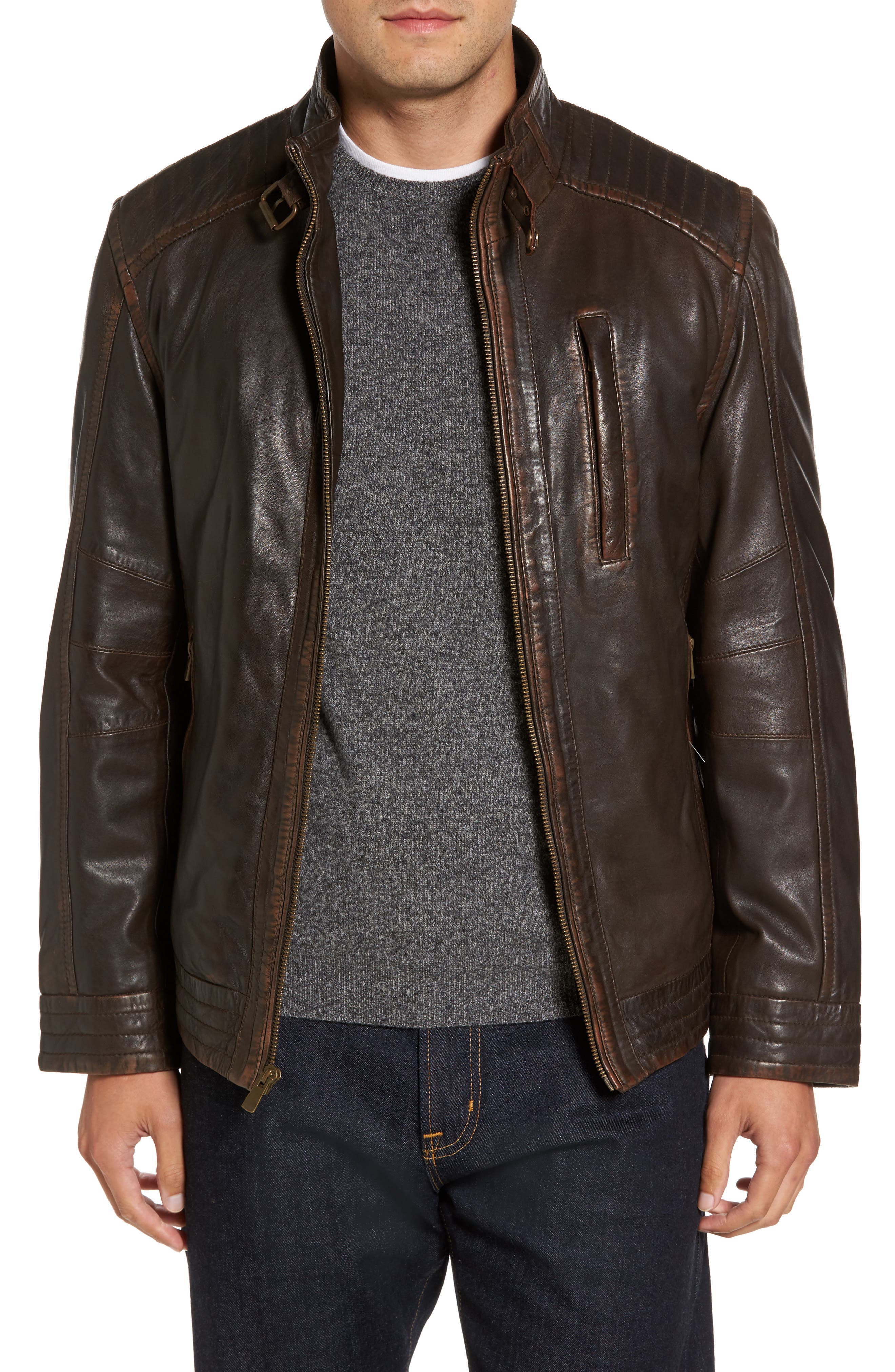Leather Jacket,                         Main,                         color, Brown