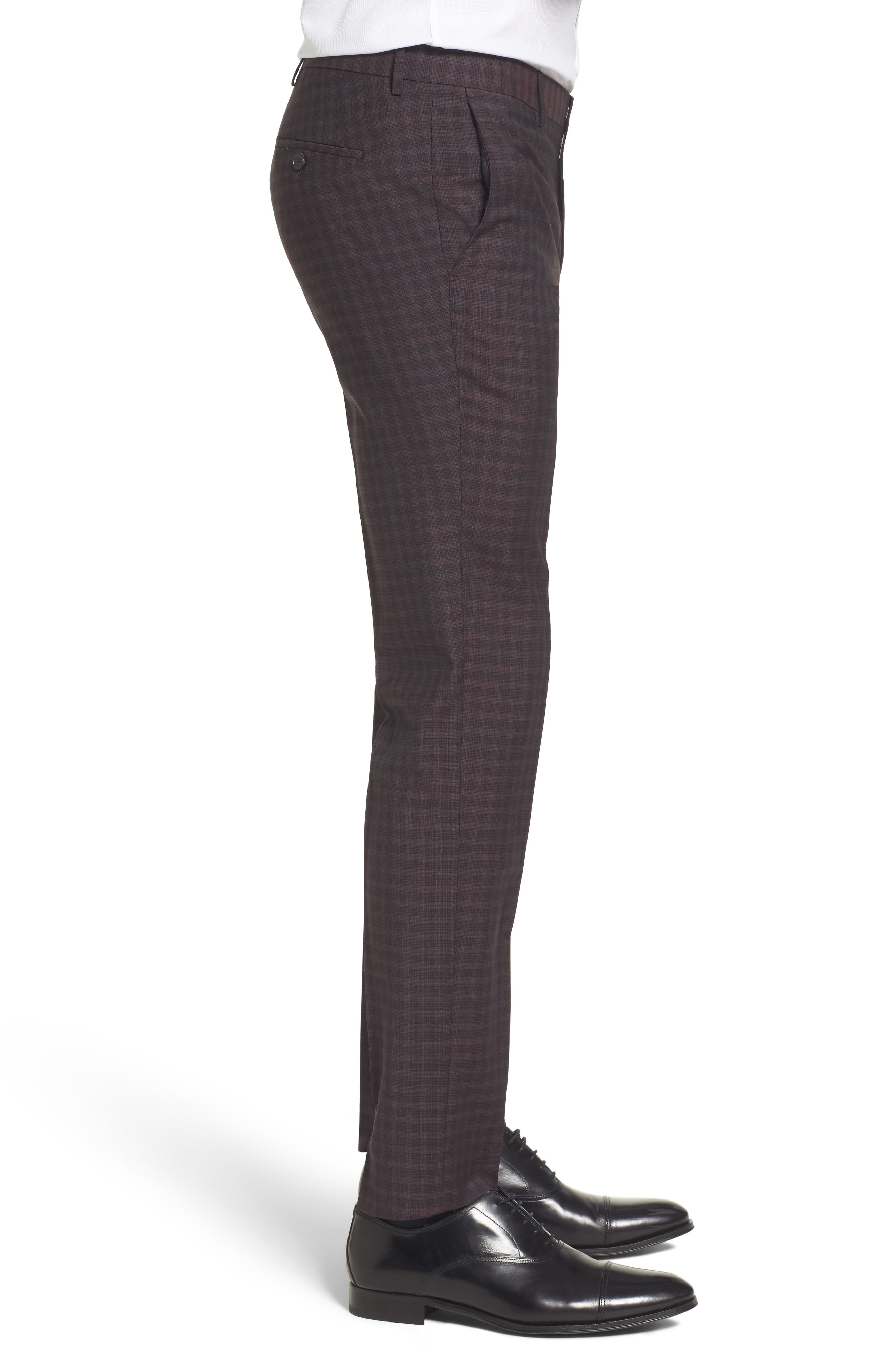 Benso Regular Fit Wool Trousers,                             Alternate thumbnail 3, color,                             Dark Red