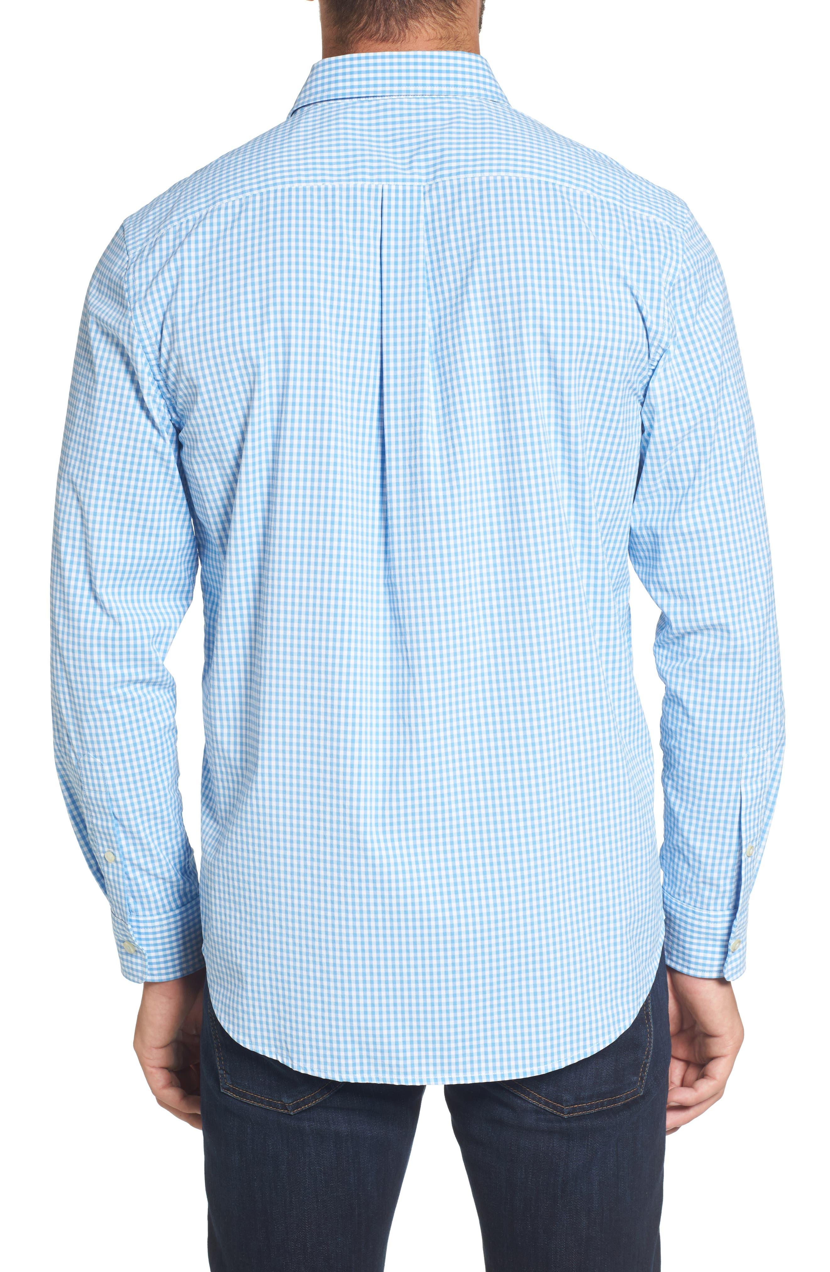 Seawater Gingham Performance Sport Shirt,                             Alternate thumbnail 2, color,                             Hull Blue