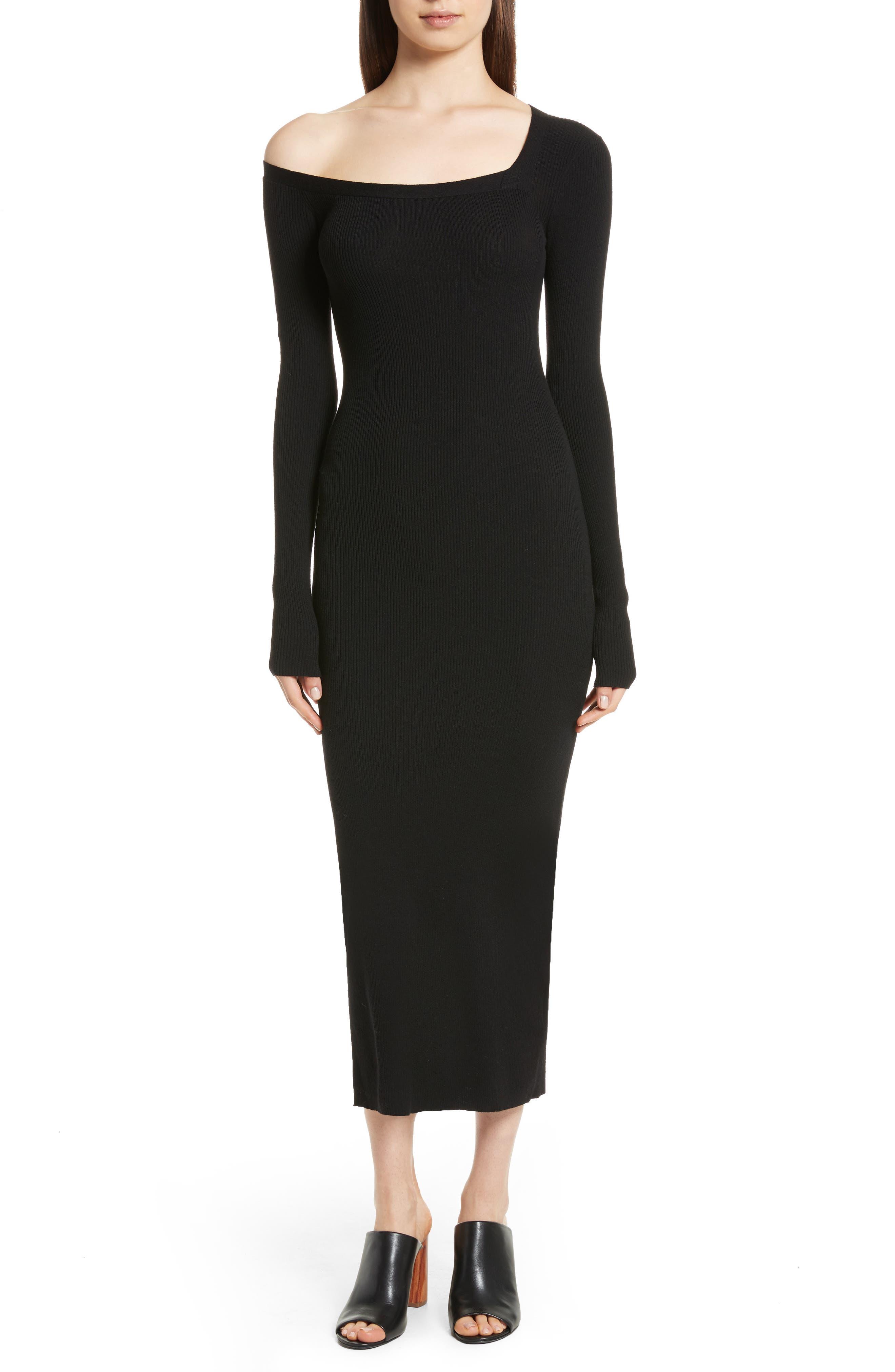 Brynn Merino Wool Blend Midi Dress,                         Main,                         color, Black