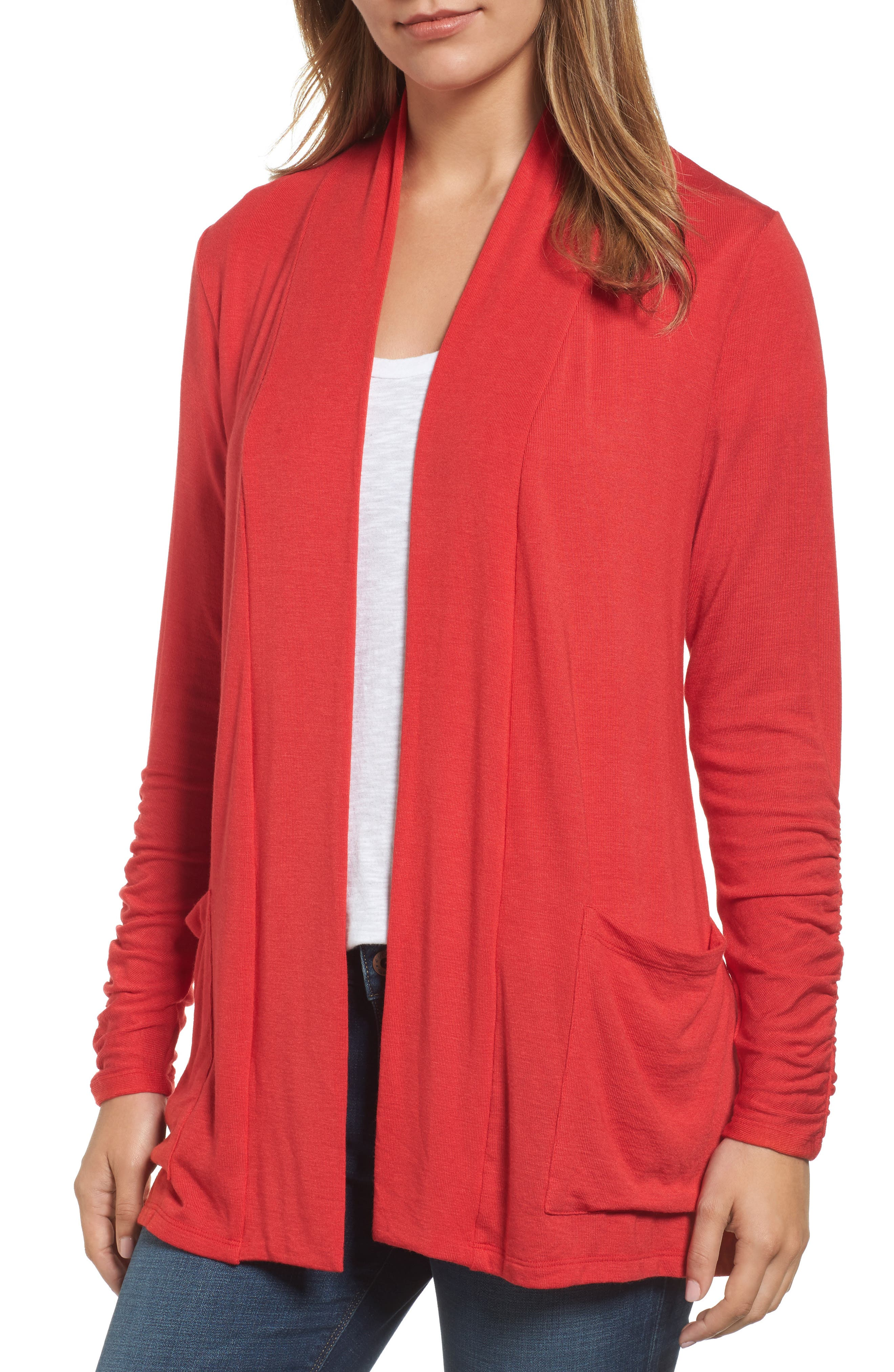 Ruched Sleeve Cardigan,                         Main,                         color, Red Pepper