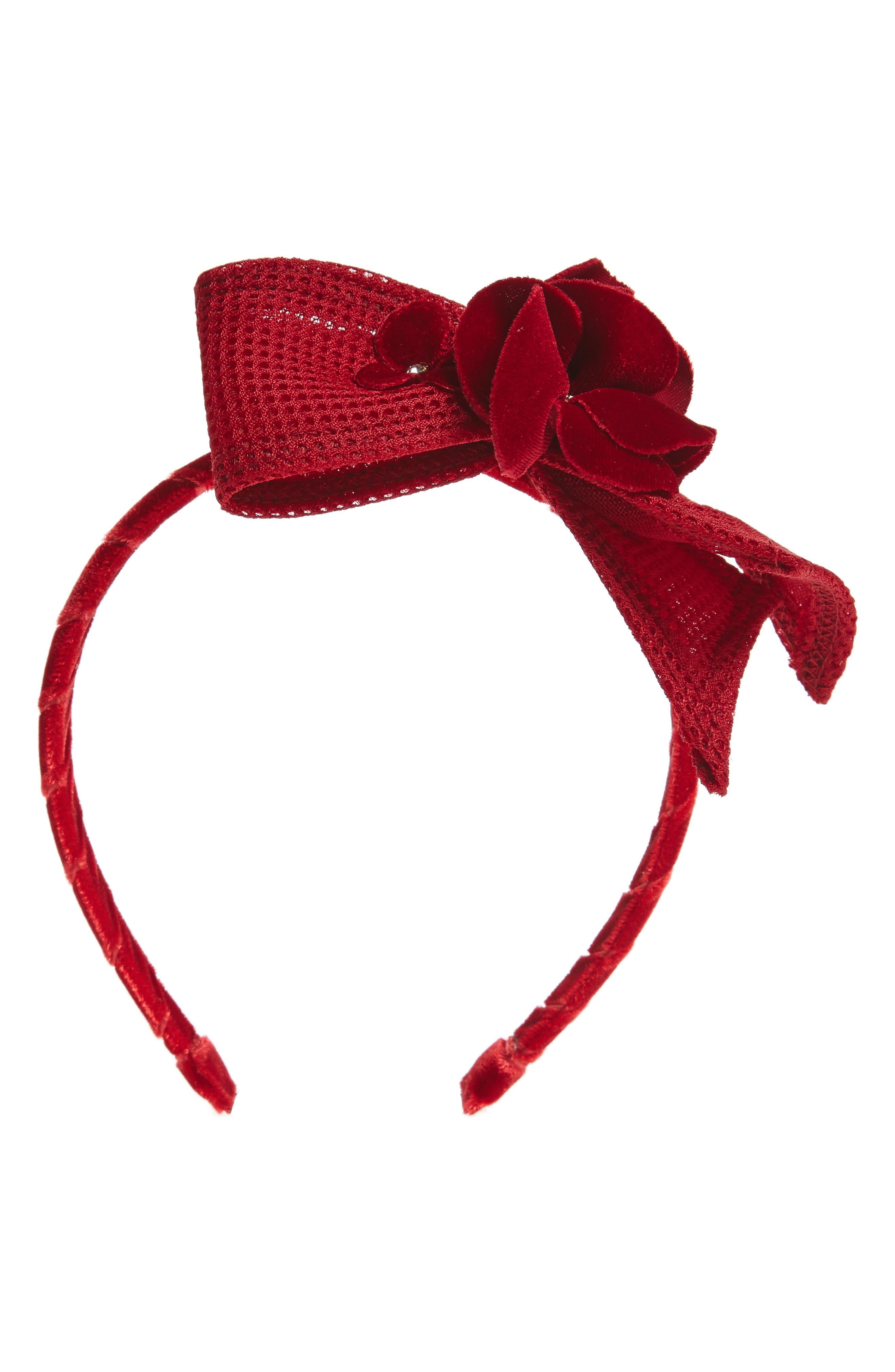 Techno Flower & Bow Headband,                         Main,                         color, Red