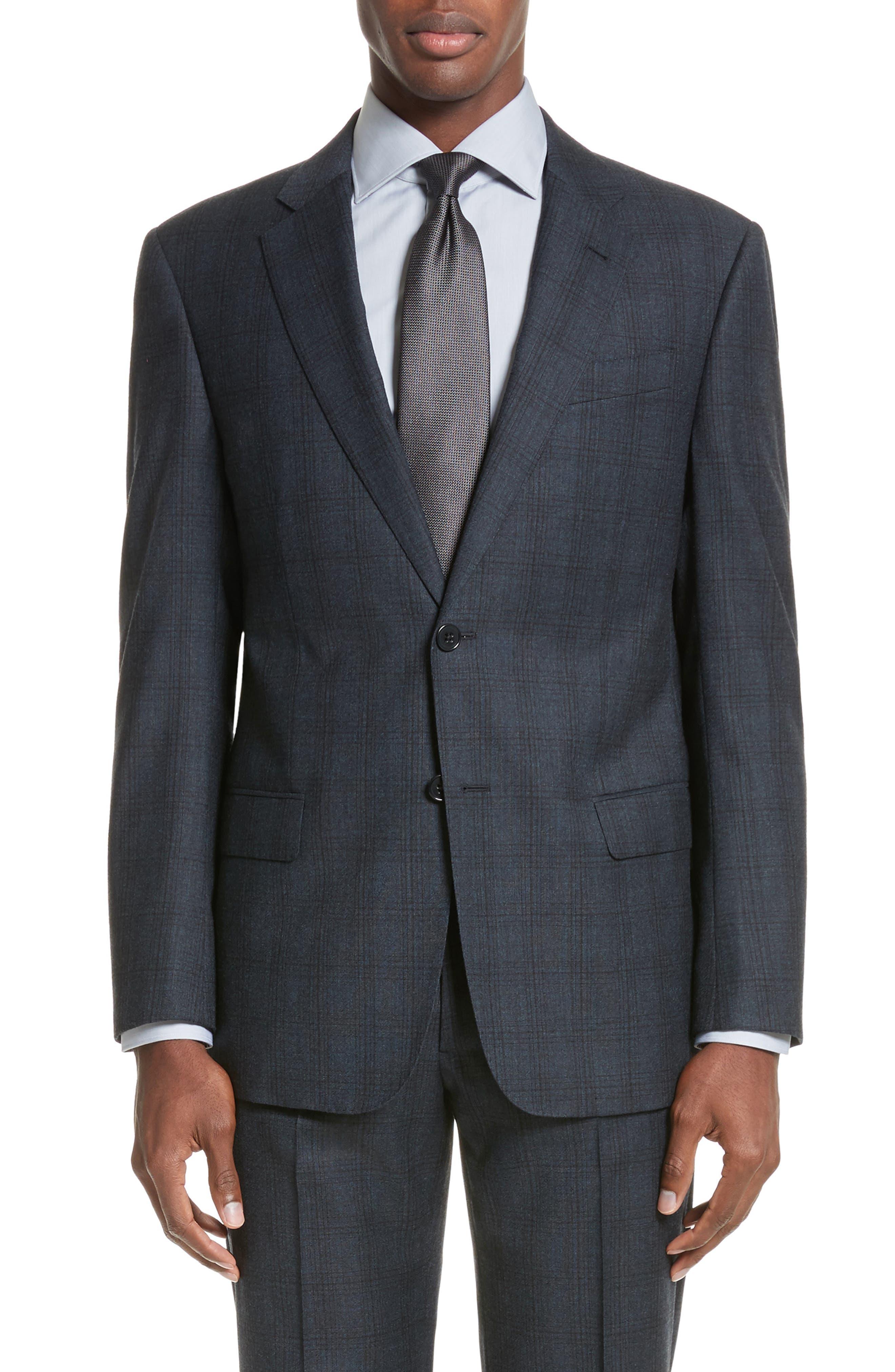 G-Line Trim Fit Plaid Wool Suit,                             Alternate thumbnail 4, color,                             Navy