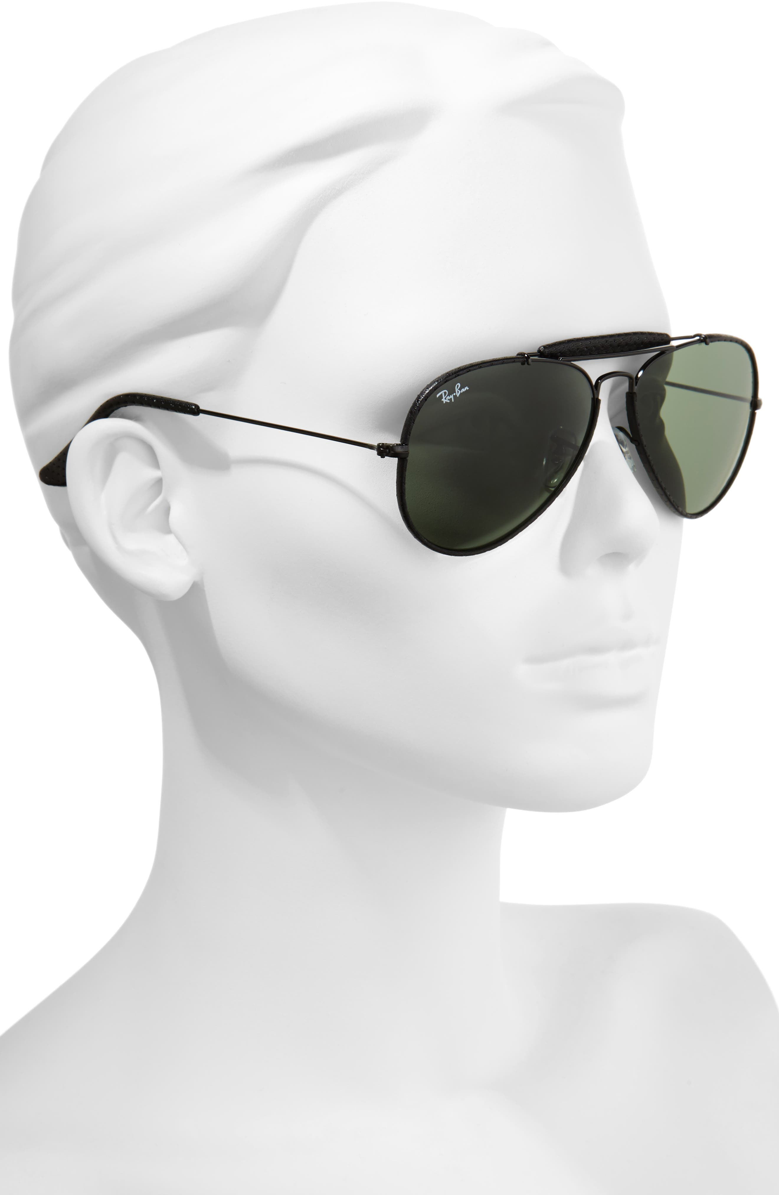 Outdoorsman 58mm Aviator Sunglasses,                             Alternate thumbnail 2, color,                             Black/ Green