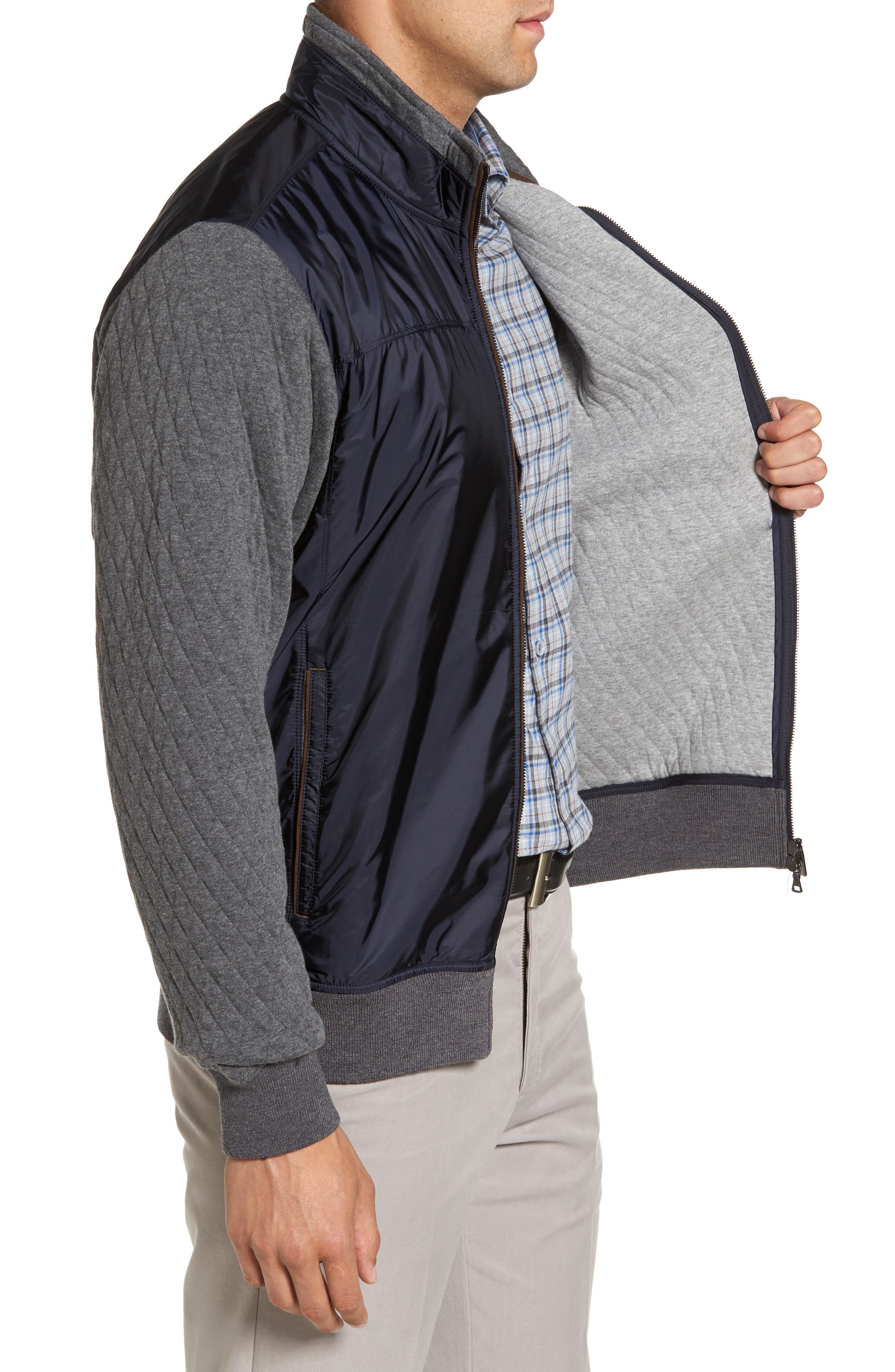 Paul&Shark Colorblock Mixed Media Zip Front Jacket,                             Alternate thumbnail 3, color,                             Navy / Grey
