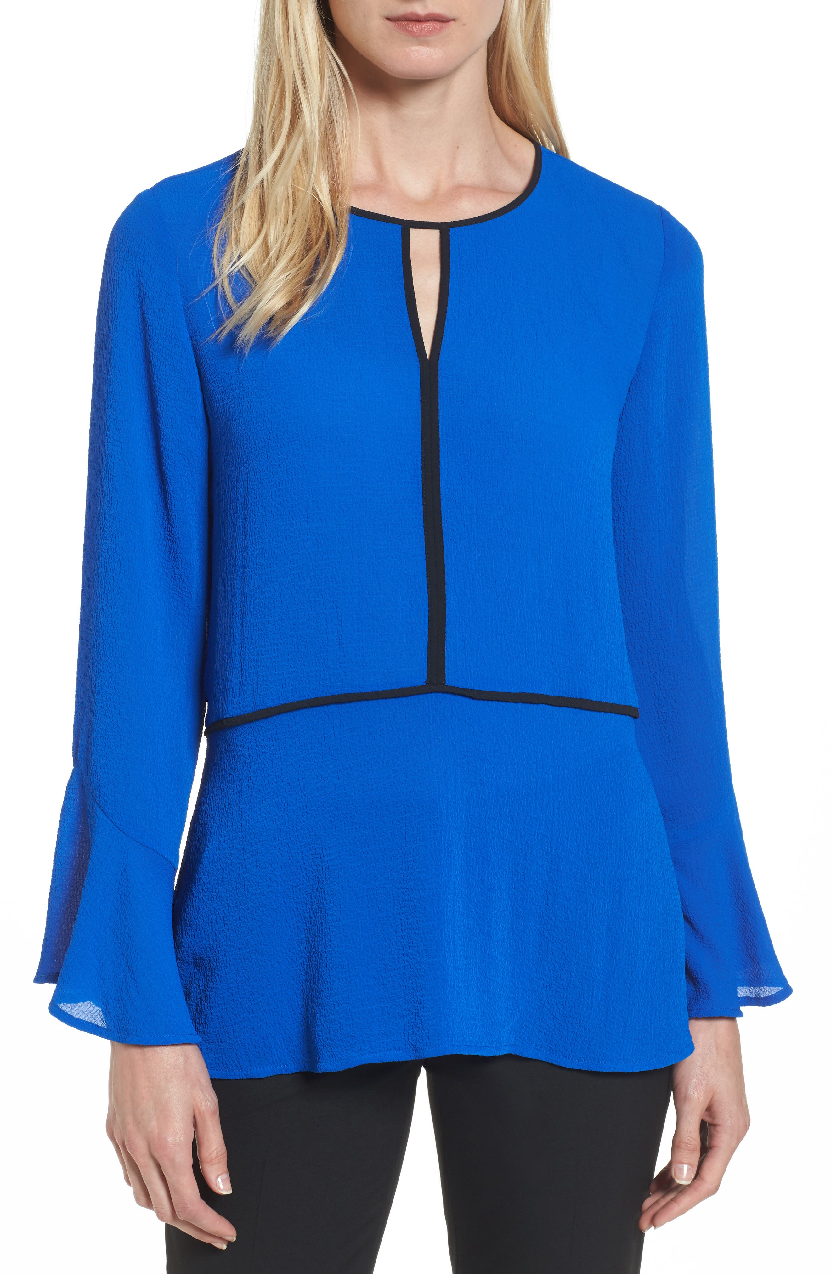 Flare Sleeve Crepe Blouse,                         Main,                         color, Royal Cobalt