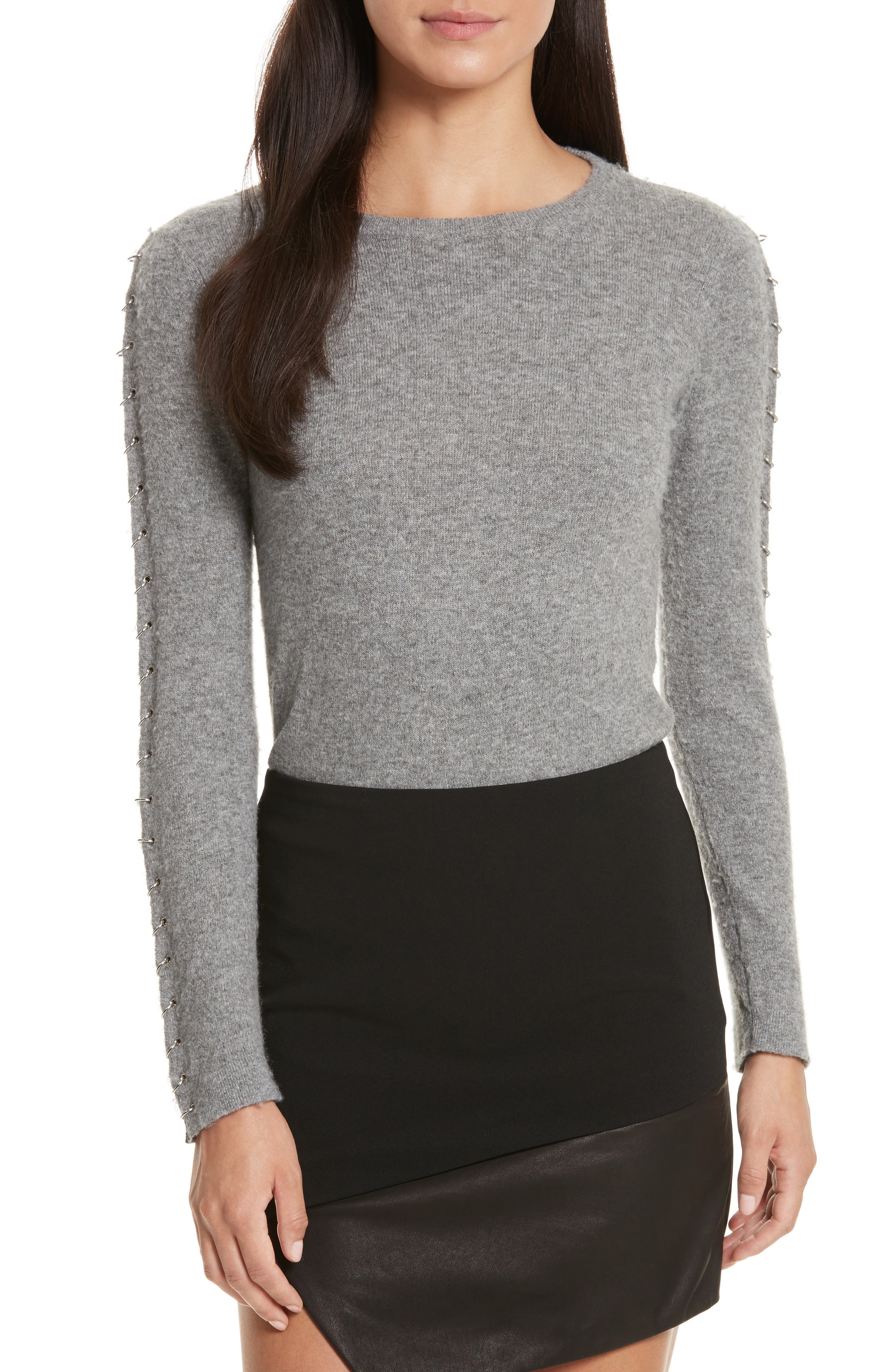 Sparrow Grommet Sleeve Sweater,                         Main,                         color, Grey