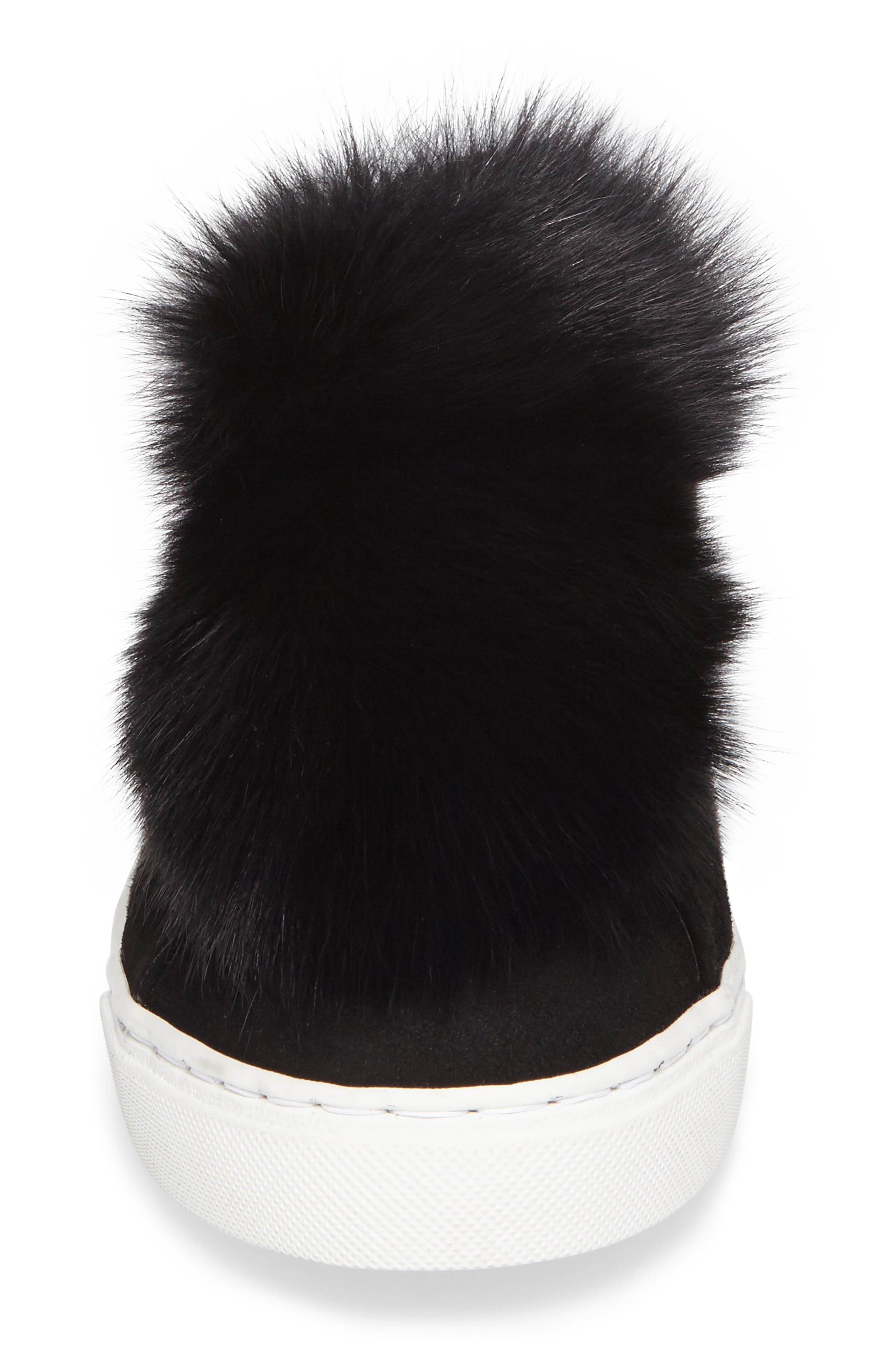 Raven Genuine Fox Fur Trim Sneaker,                             Alternate thumbnail 4, color,                             Black Suede