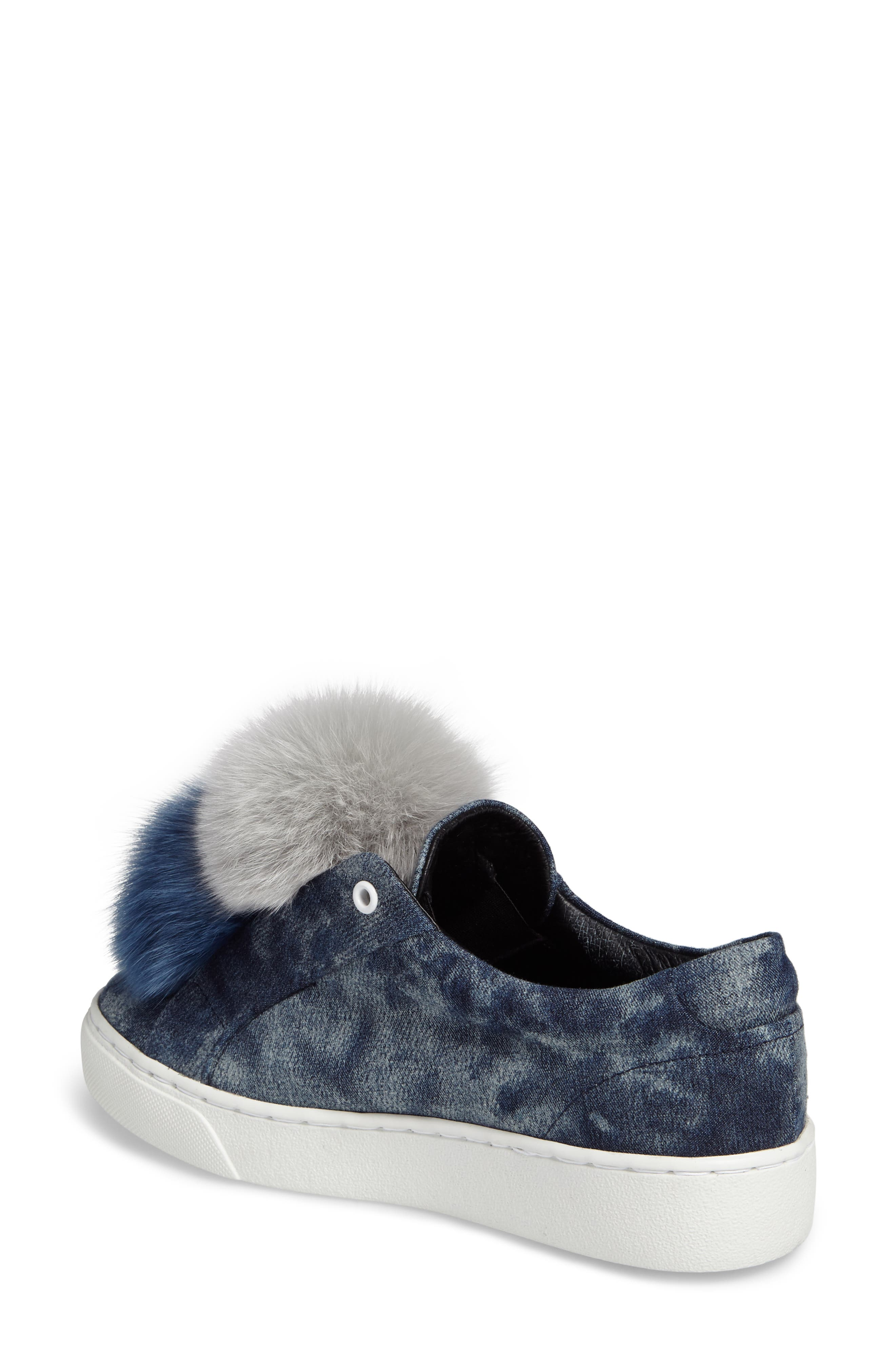 Joey Genuine Fox Fur Trim Sneaker,                             Alternate thumbnail 2, color,                             Blue Tiedye Denim