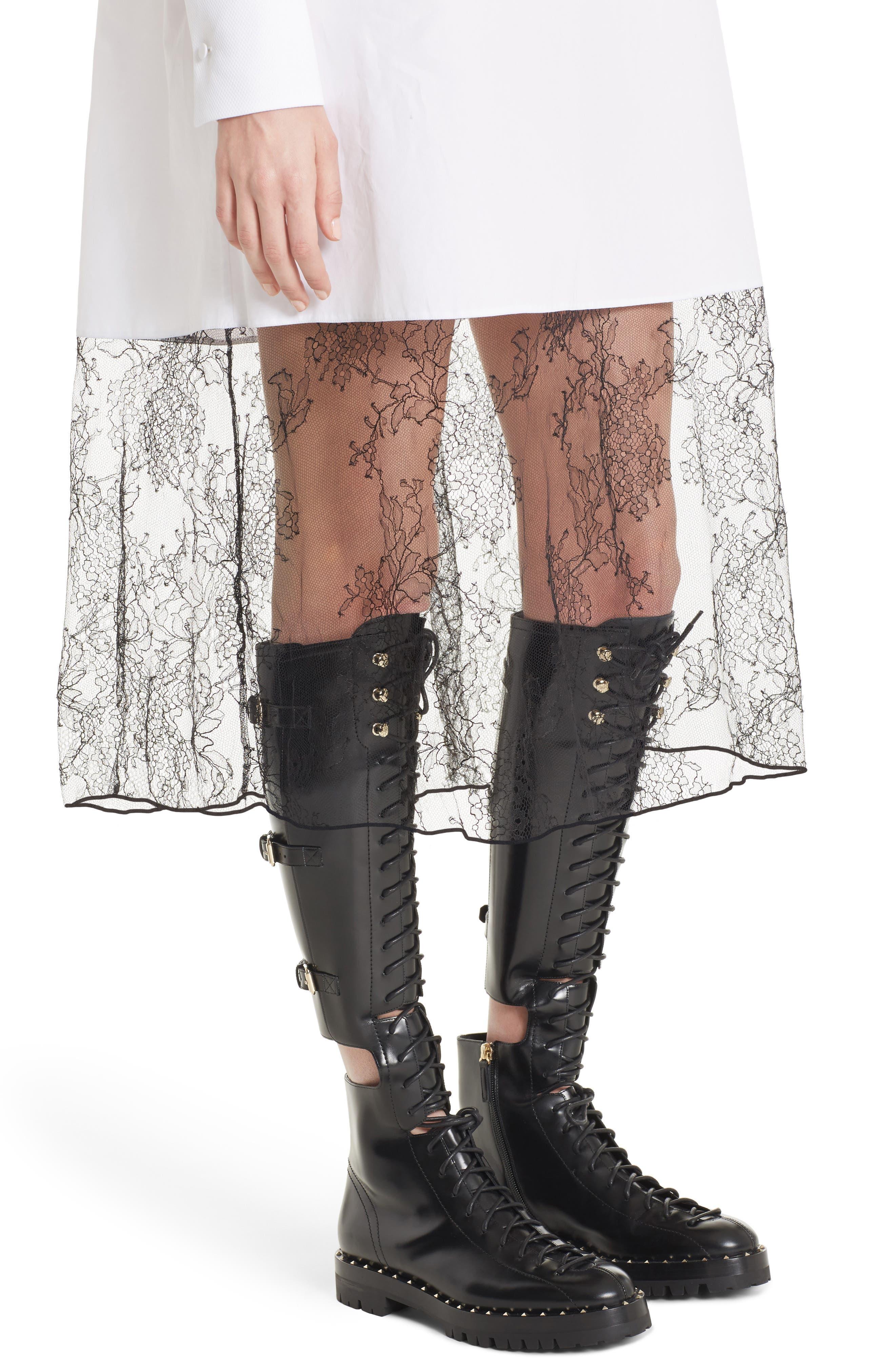 Lace Hem Cotton Poplin Shirtdress,                             Alternate thumbnail 5, color,                             White/ Black