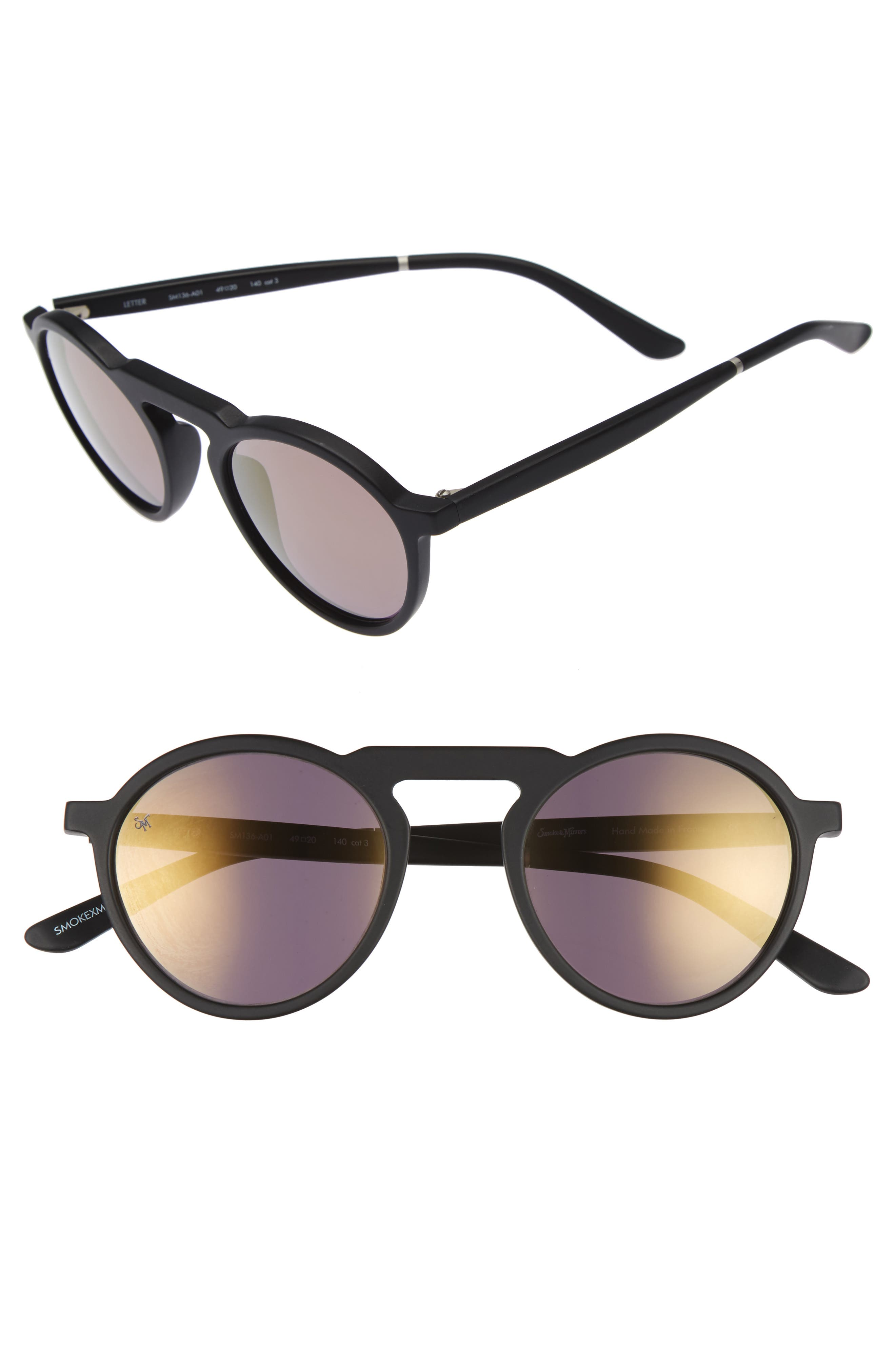 Letter 49mm Mirrored Round Sunglasses,                         Main,                         color, Matte Black/ Gold Mirror