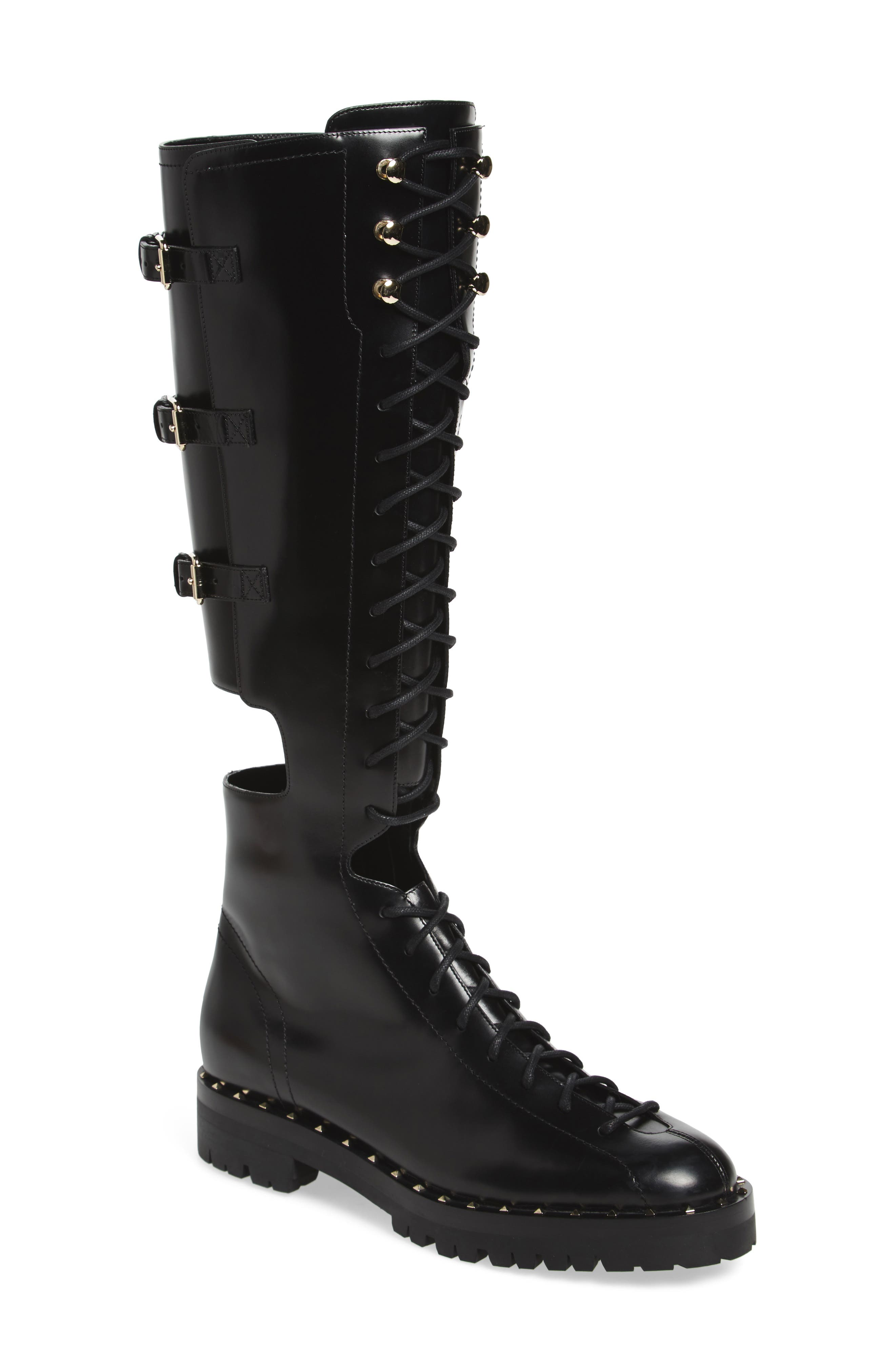 Alternate Image 1 Selected - VALENTINO GARAVANI Soul Rockstud Knee High Cutout Boot (Women)
