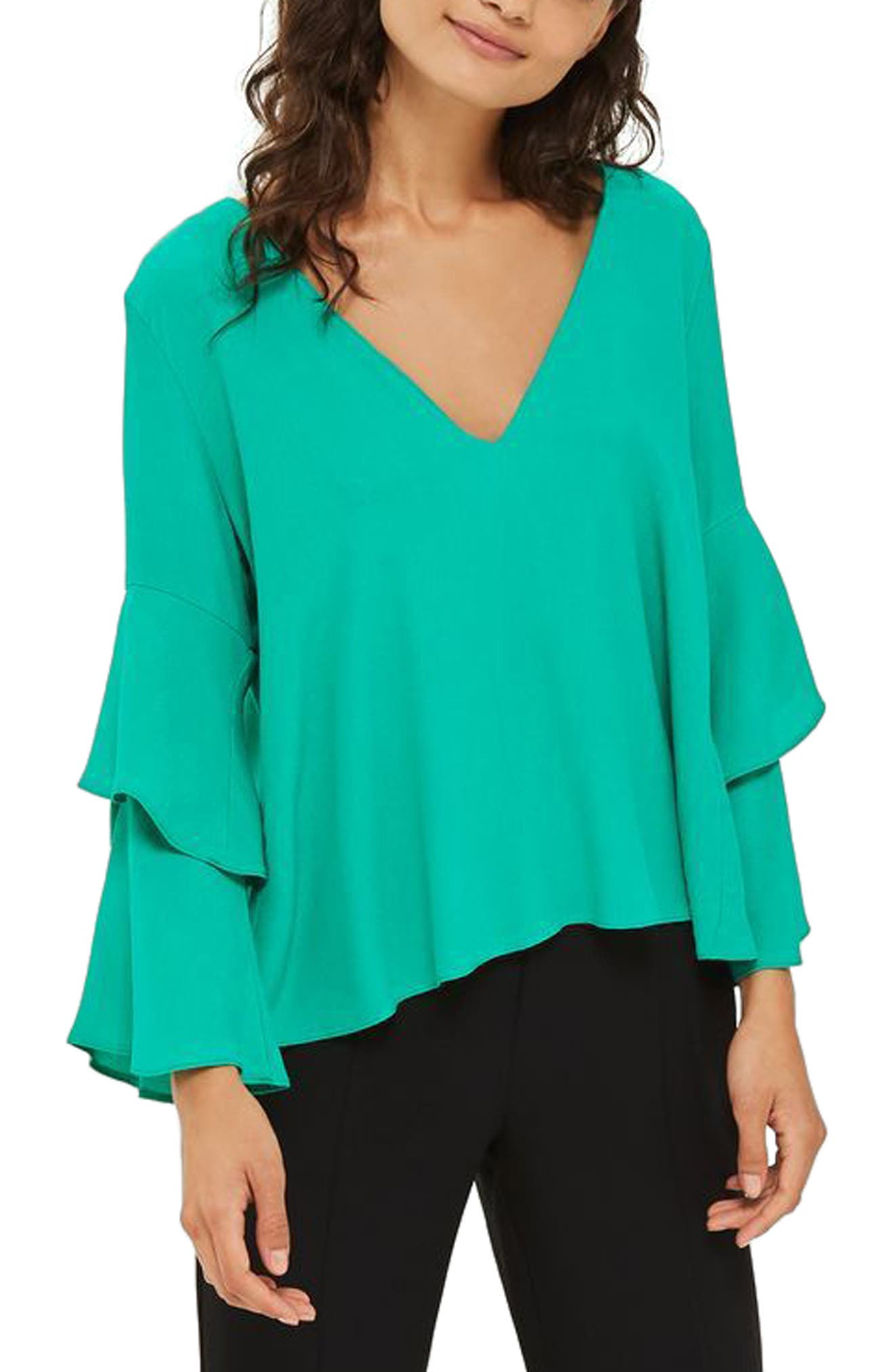 Double Sleeve Layer Top,                         Main,                         color, Emerald