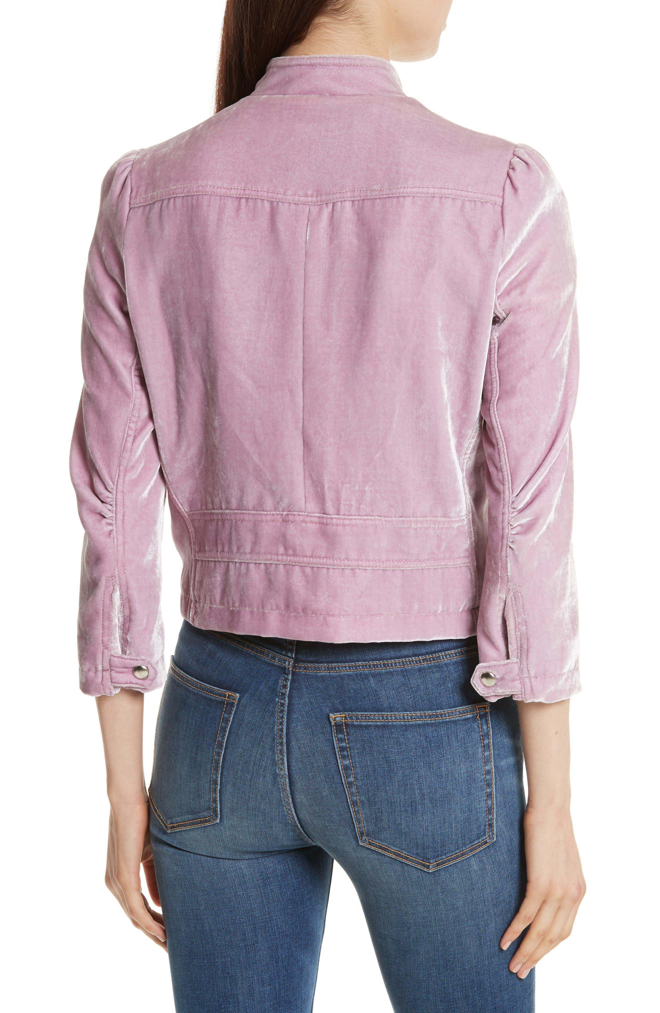 Velvet Moto Jacket,                             Alternate thumbnail 2, color,                             Dusty Iris