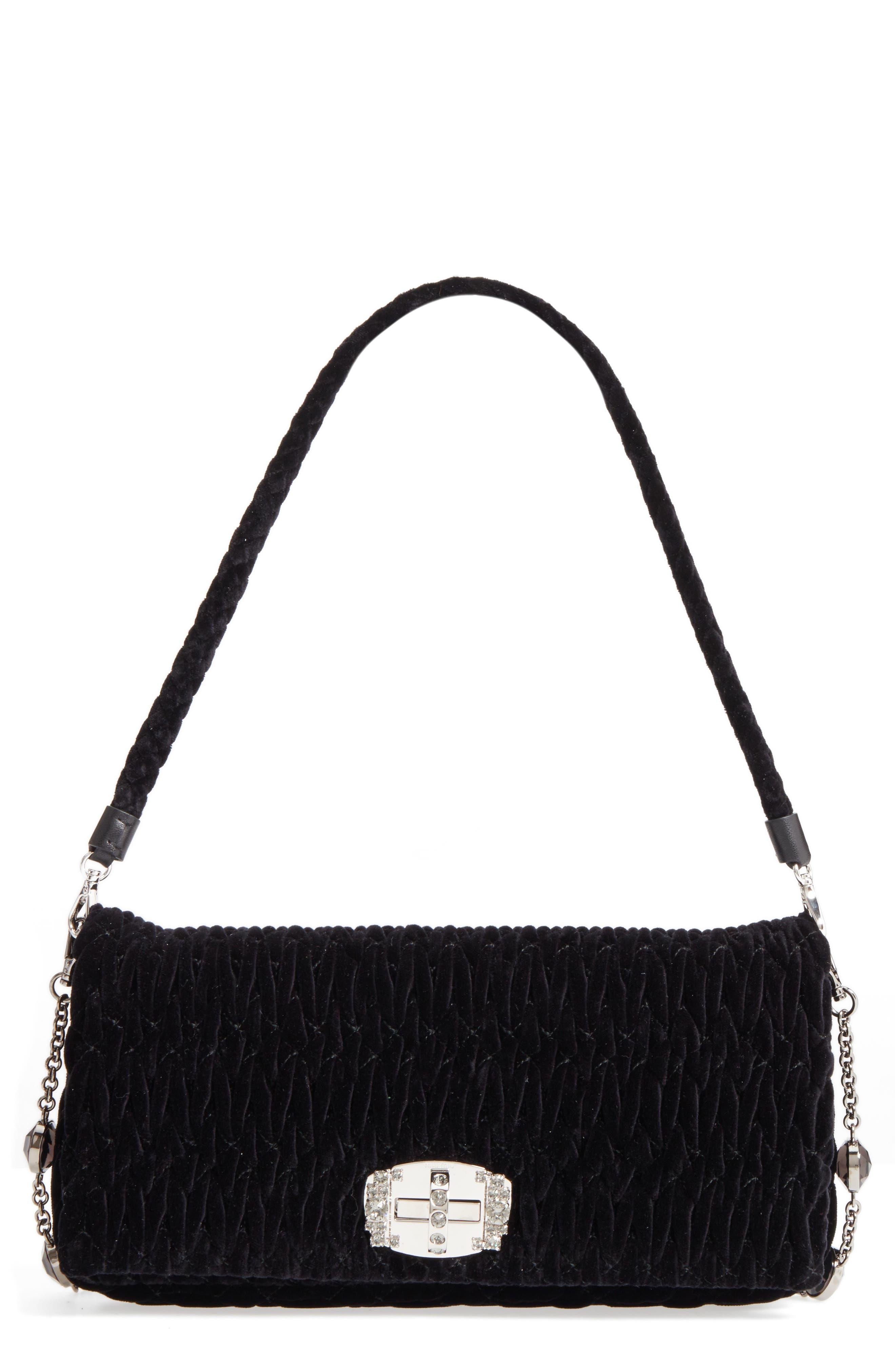 Main Image - Miu Miu Medium Crystal Embellished Quilted Velvet Shoulder Bag