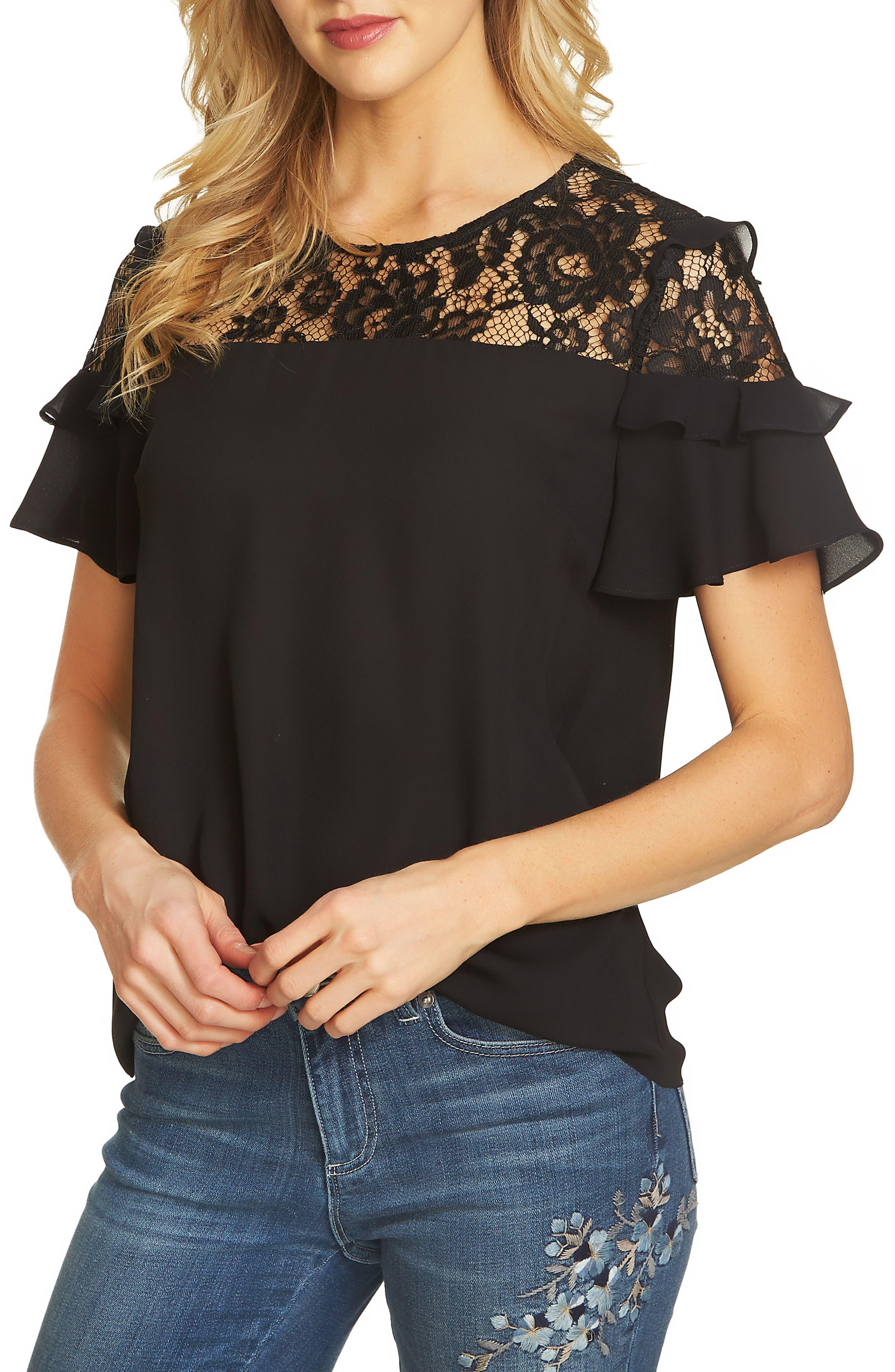 Lace Yoke Crepe Blouse,                         Main,                         color, Rich Black