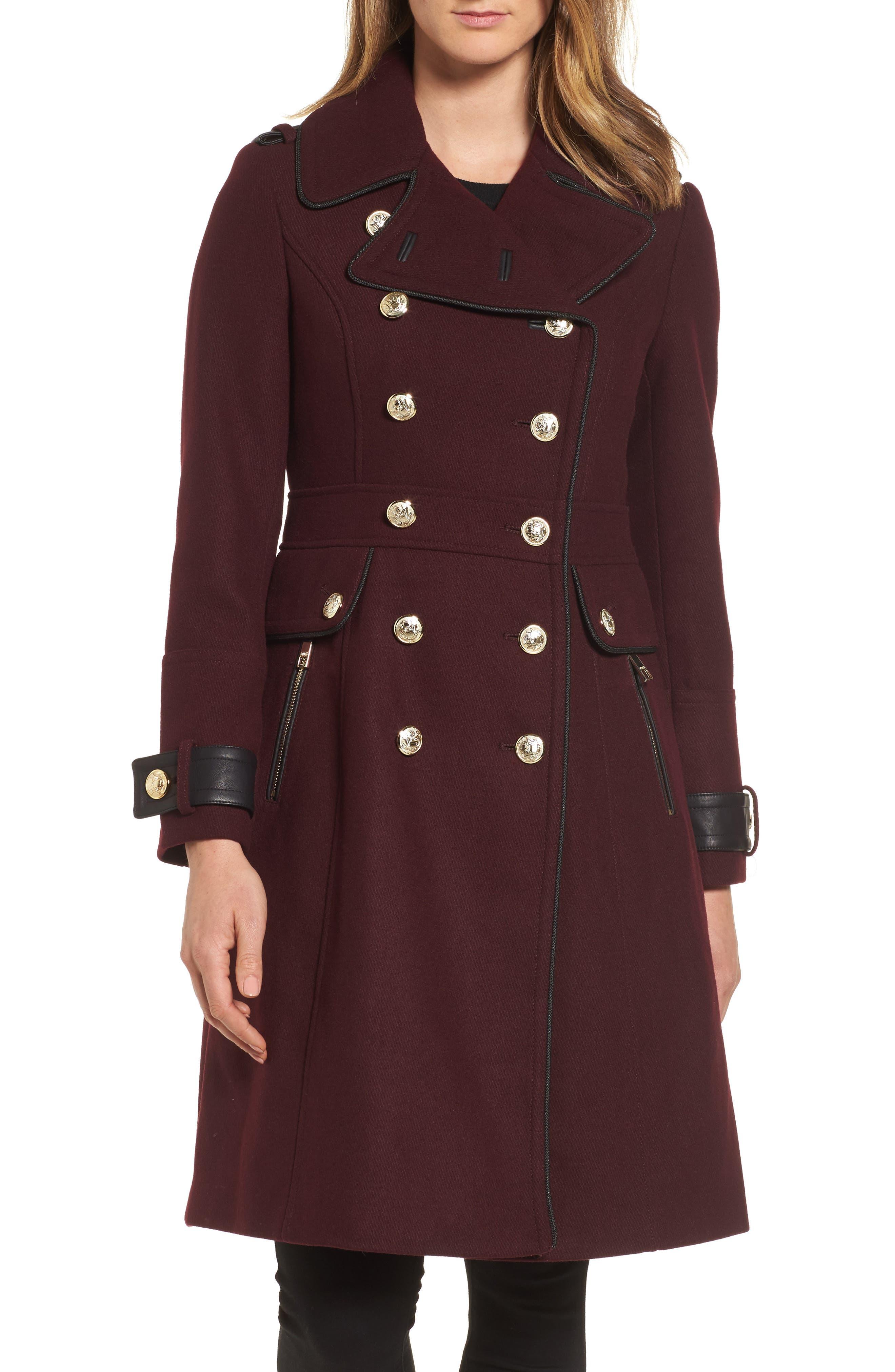 Wool Blend Military Coat,                         Main,                         color, Rum Raisin