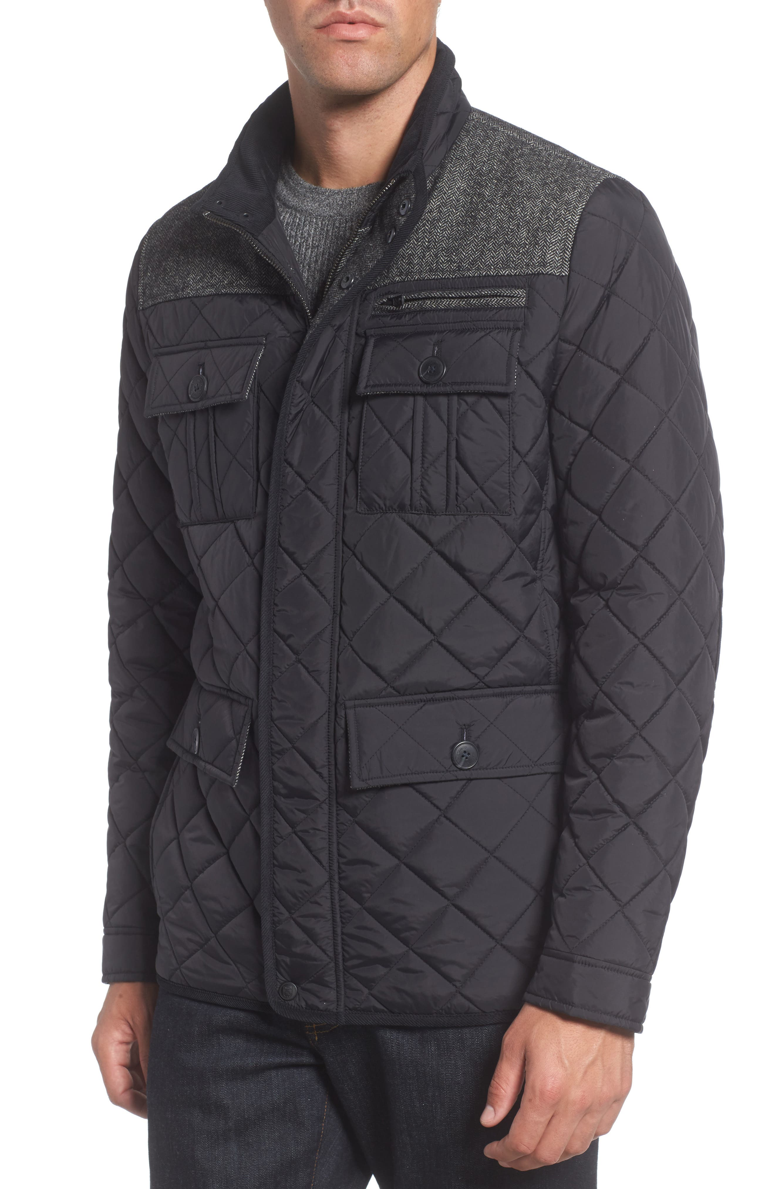 Diamond Quilted Full Zip Jacket,                             Alternate thumbnail 4, color,                             Black
