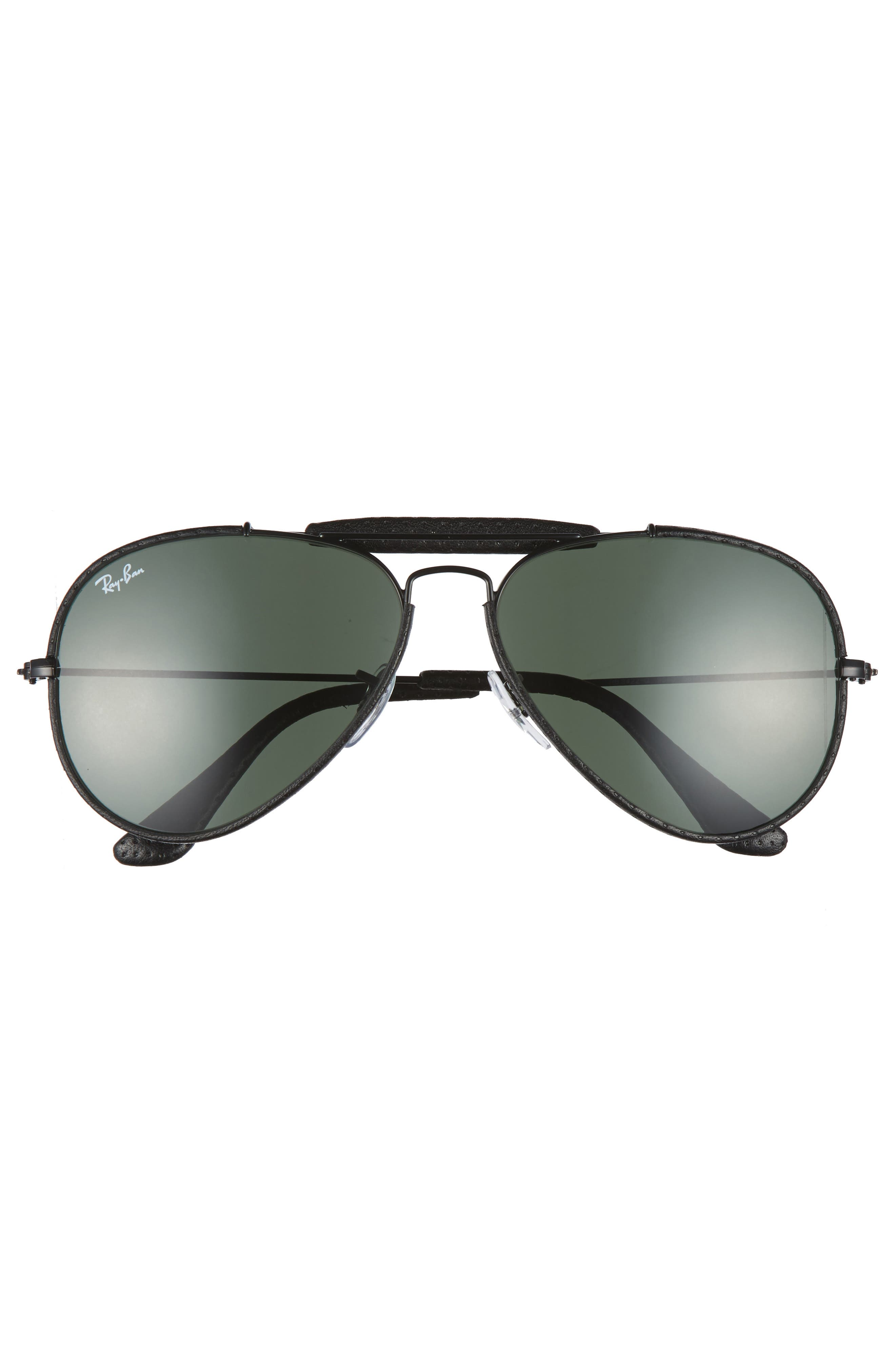Outdoorsman 58mm Aviator Sunglasses,                             Alternate thumbnail 3, color,                             Black/ Green