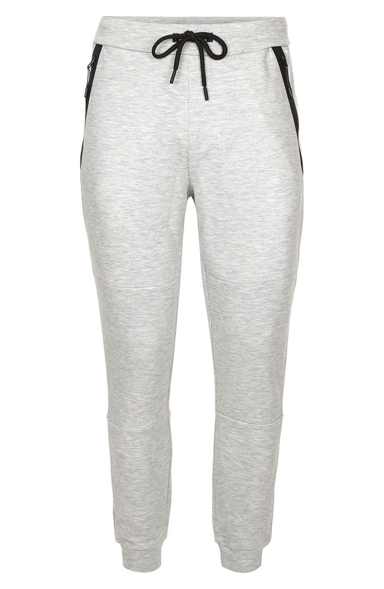 Zip Detail Skinny Jogger Pants,                             Alternate thumbnail 4, color,                             Grey