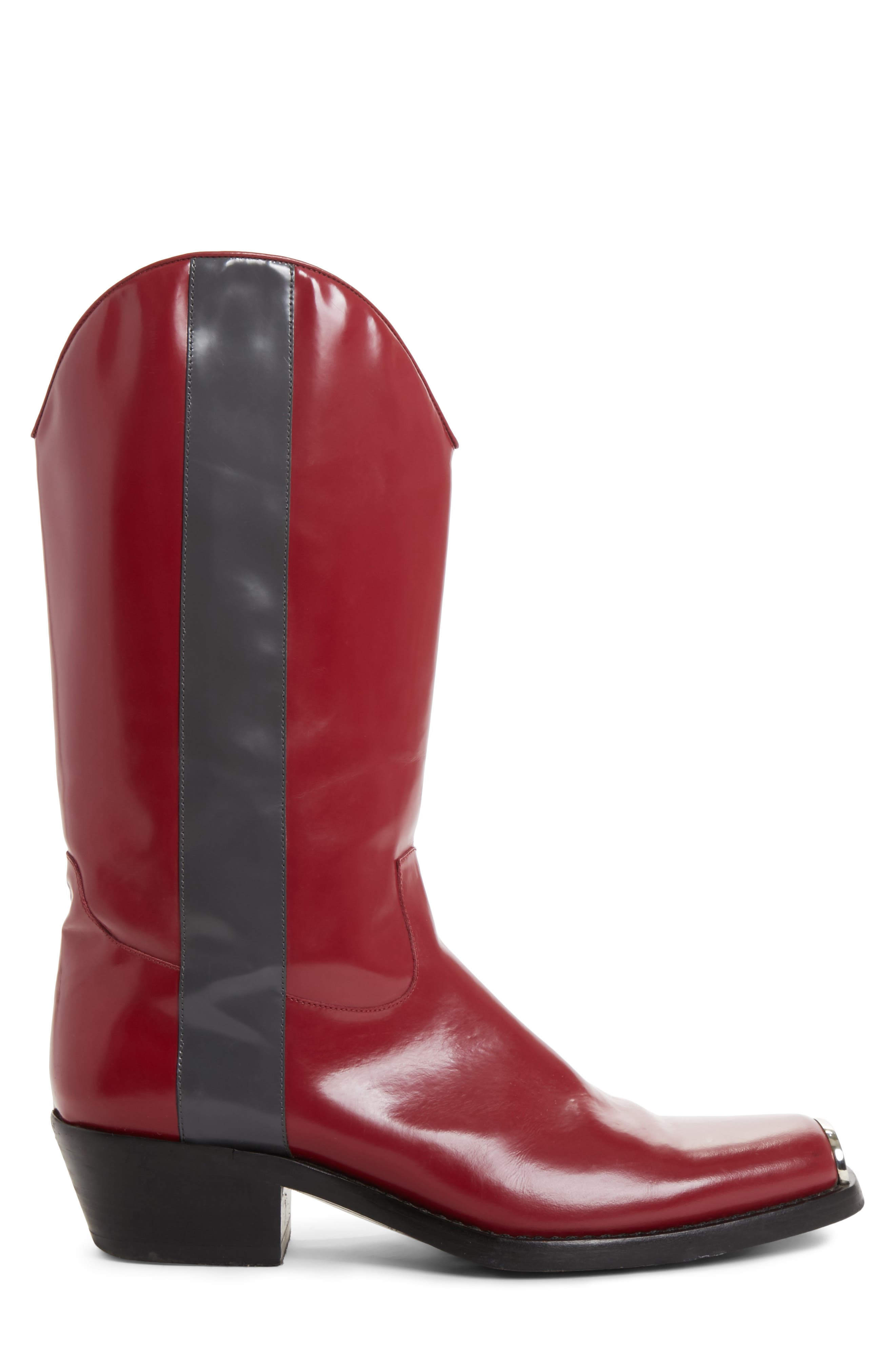 Chris Western Metal Tip Boot,                             Alternate thumbnail 3, color,                             Dark Red/ Anthracite Leather