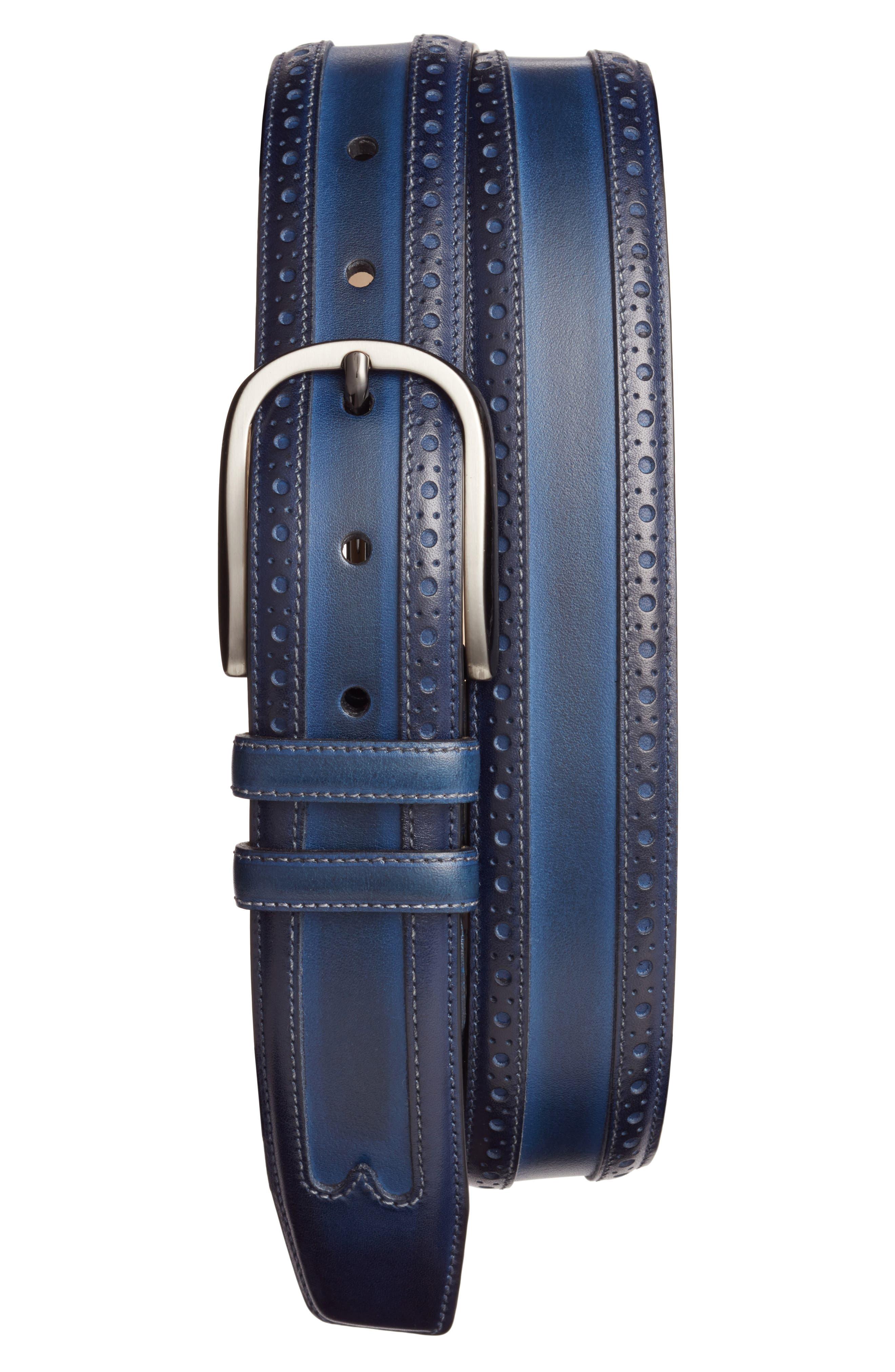 Leather Belt,                         Main,                         color, Med Blue