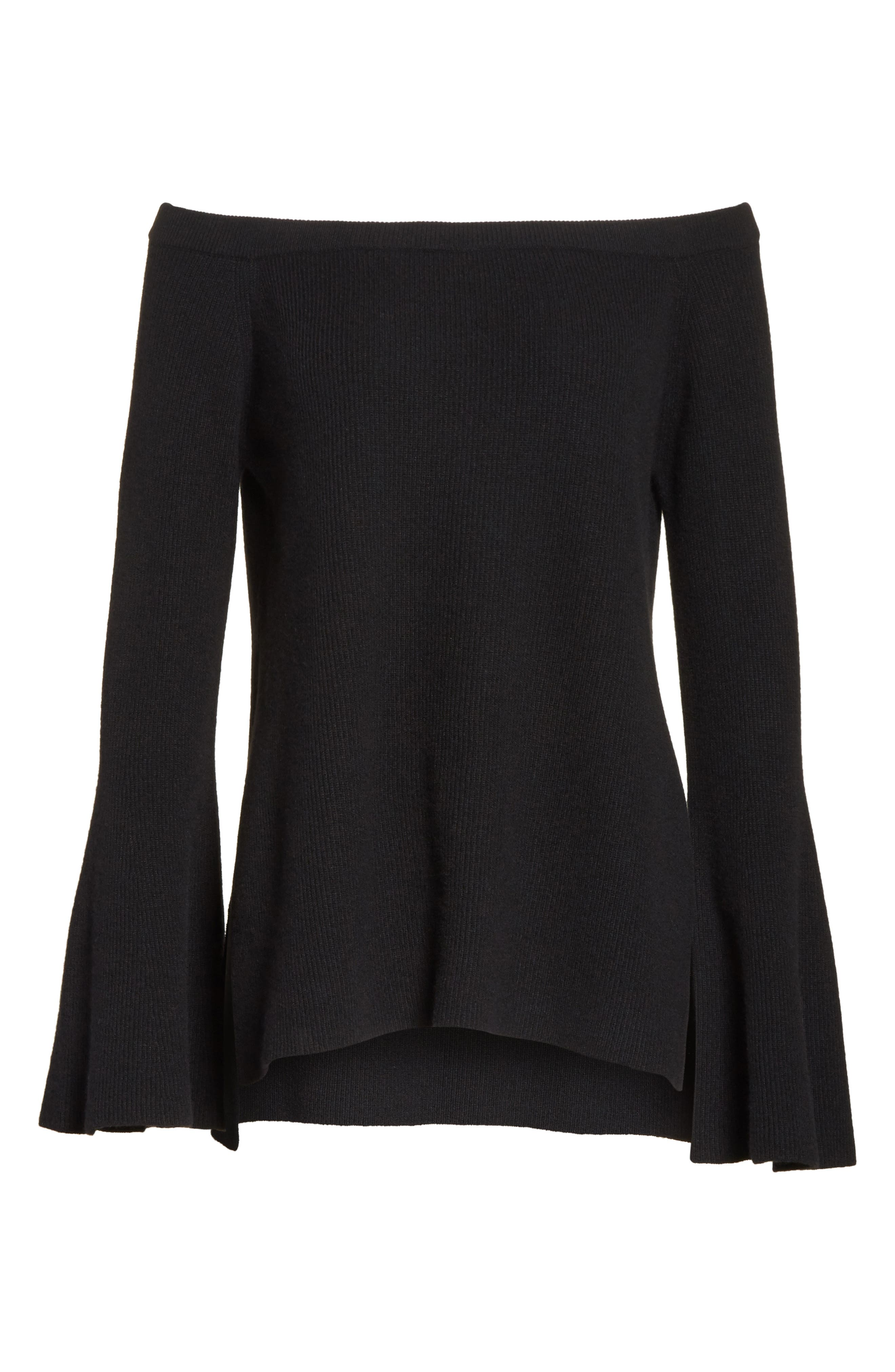 Off the Shoulder Wool & Cashmere Sweater,                             Alternate thumbnail 7, color,                             Black