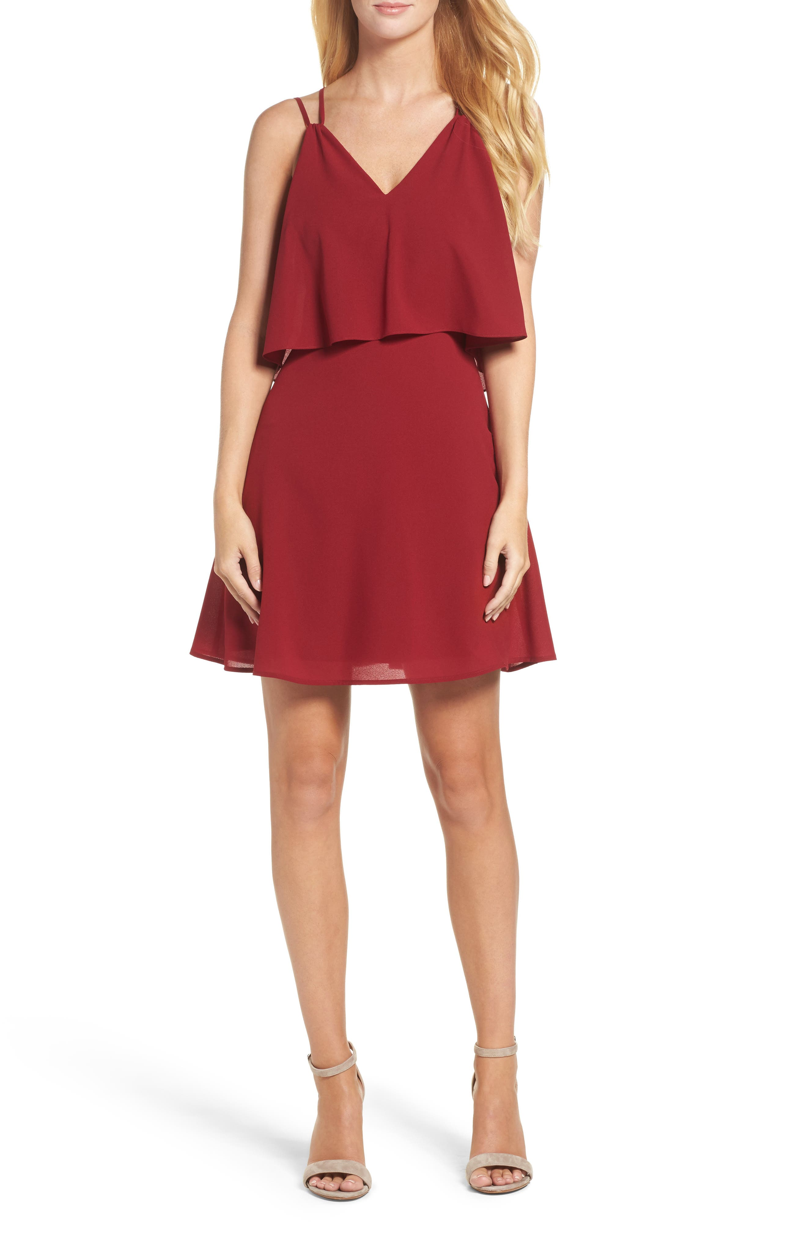 Free Spirit Popover Minidress,                             Main thumbnail 1, color,                             Burgundy
