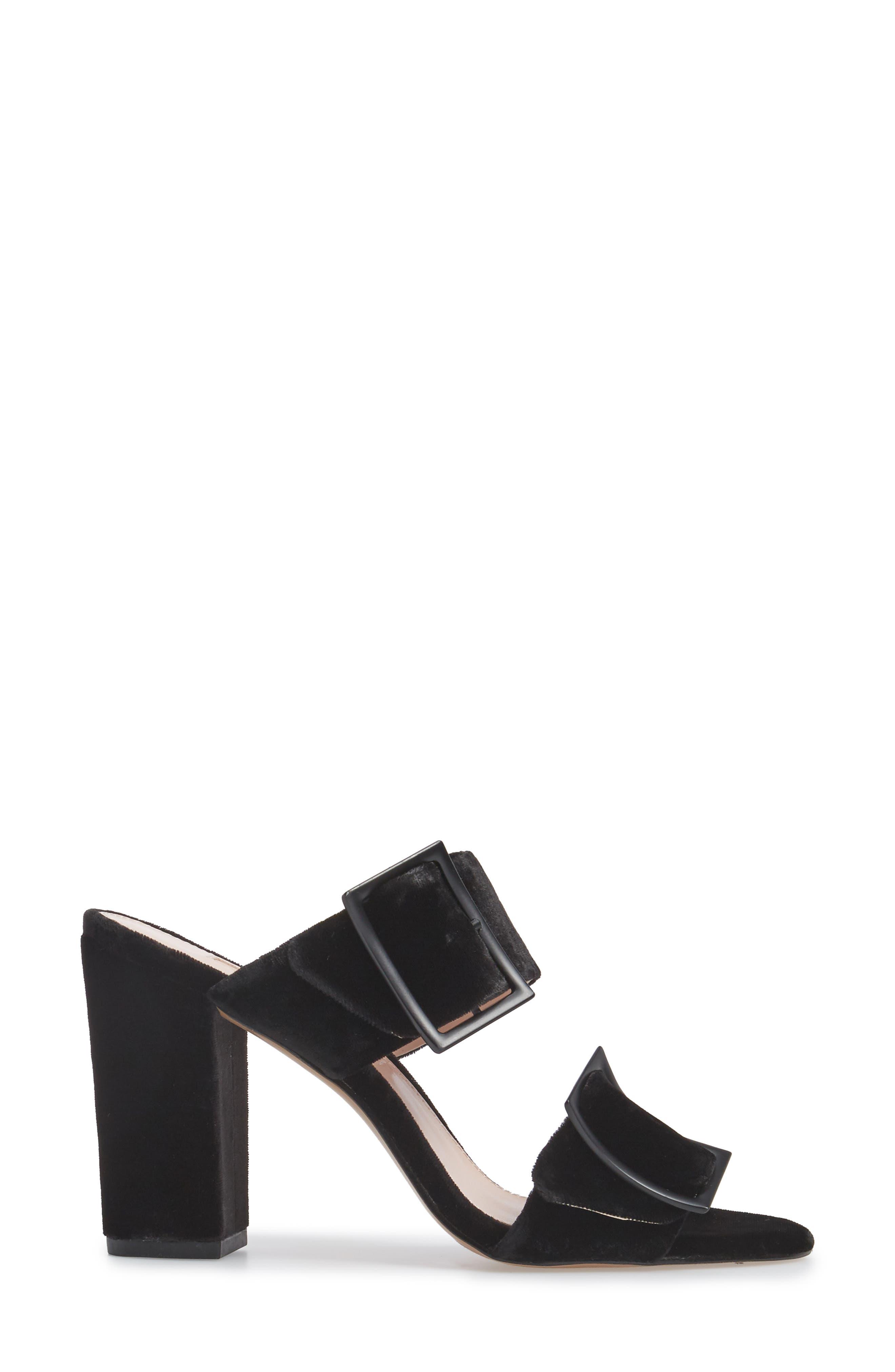 Millie Buckle Strap Sandal,                             Alternate thumbnail 3, color,                             Black Fabric
